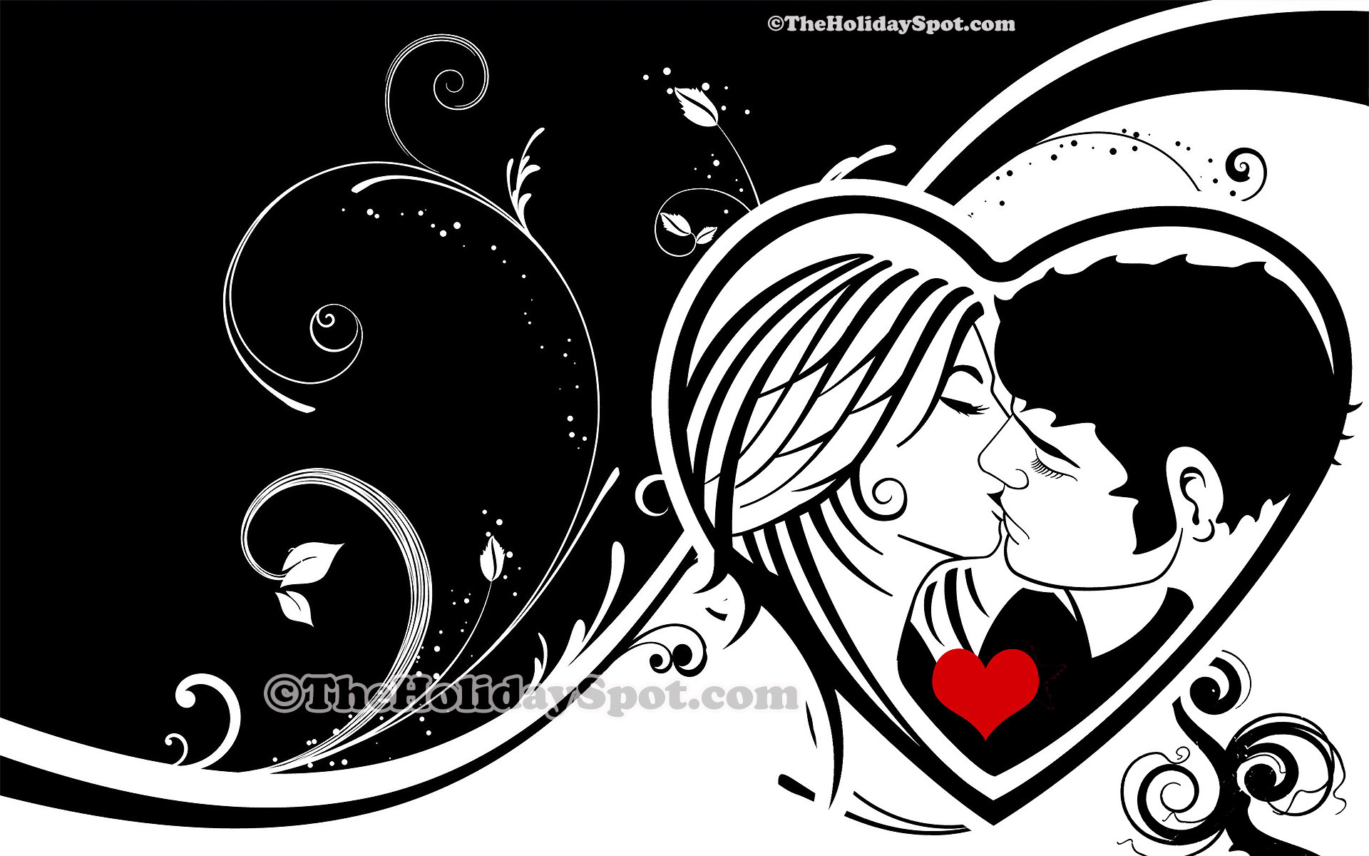1920x1200 Vector Valentine wallpaper showing divine kiss