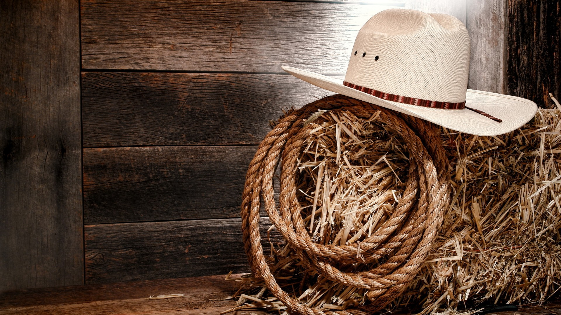 1920x1080 Wallpaper hay, rope, hat, Cowboy hat.