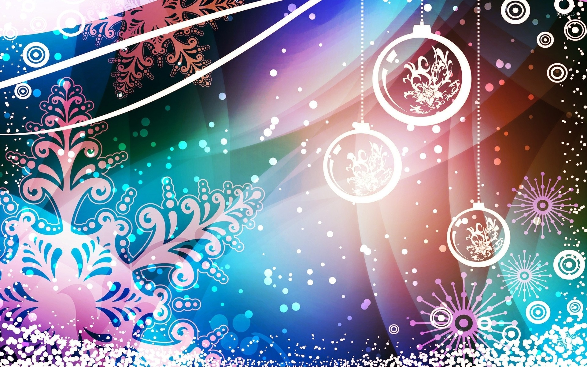 1920x1200 Snowflakes and baubles decorating the Christmas Eve wallpaper