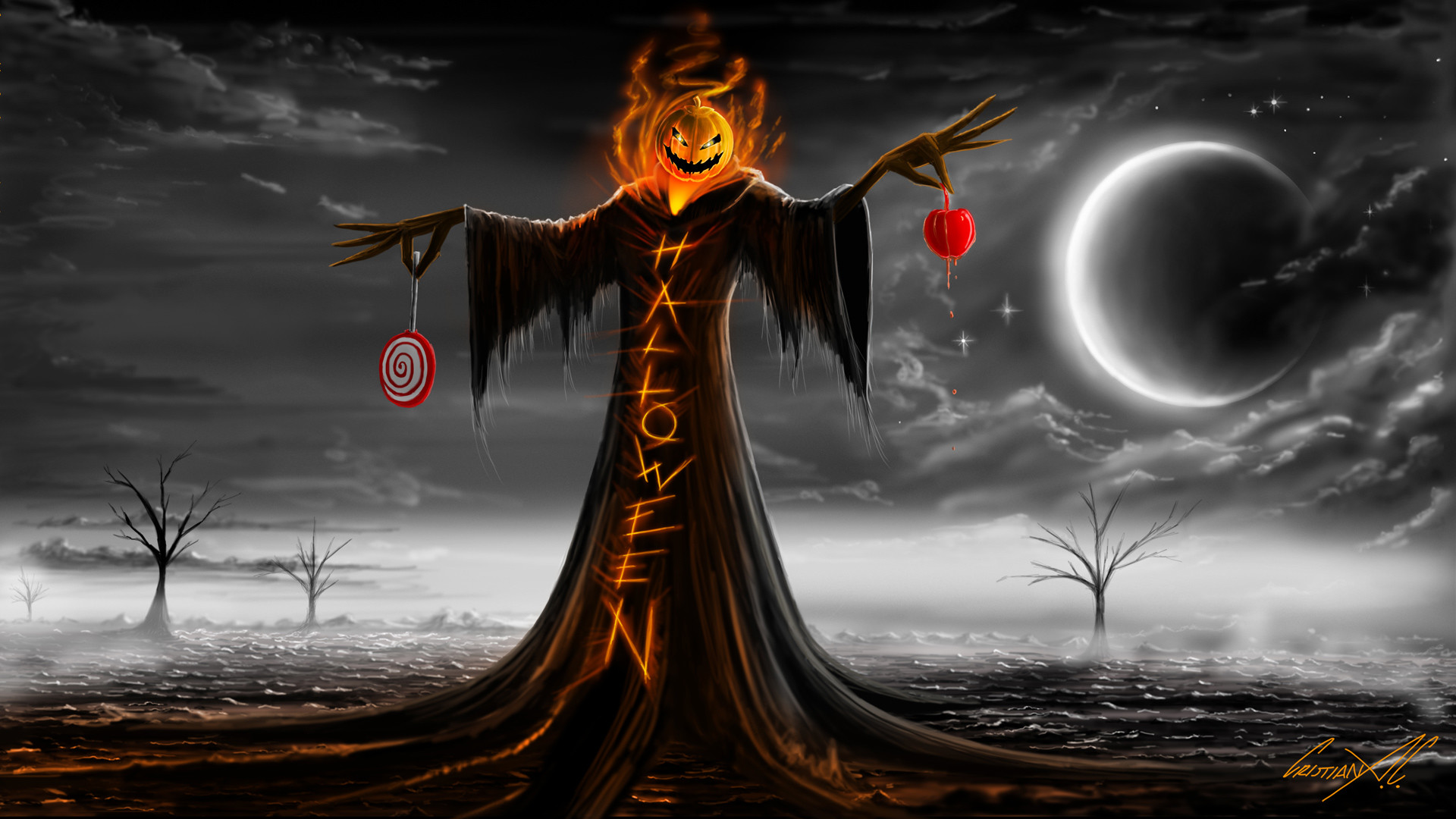 1920x1080 Halloween Specter Scarecrow Pumpkin Fire Flames Tunic Lollipops Moon Stars  Clouds Night Trees Desert Scare Fear Painting hd wallpaper by LadyGaga