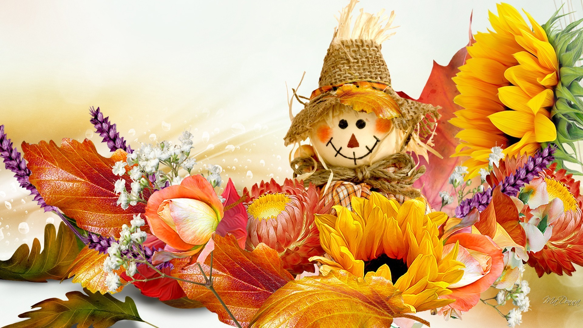 1920x1080 Doll Basics Happy Sunflowers Rose Scarecrow Fall Flowers Smile Gold Autumn Orange Leaves Flower Wallpaper