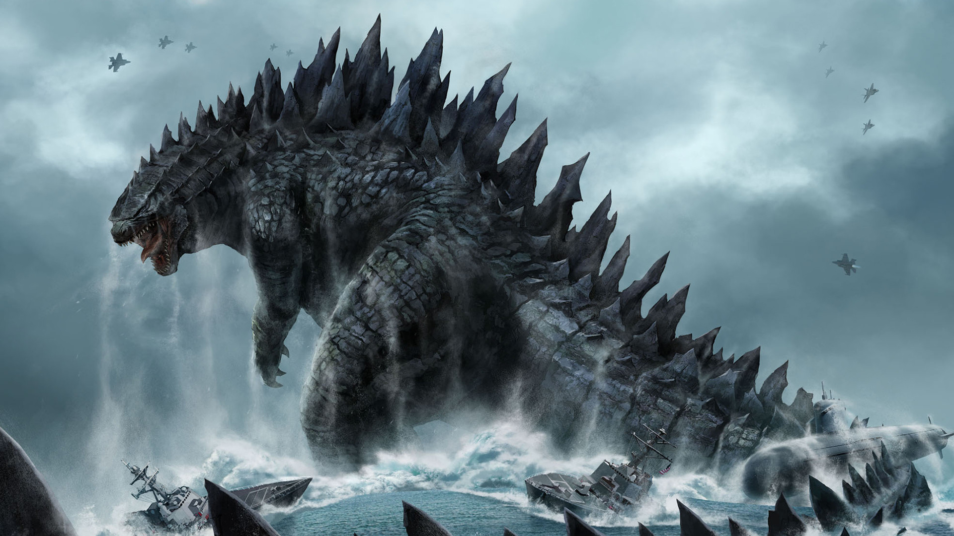 1920x1080  Wallpaper godzilla, monster, dinosaur, submarine, tail