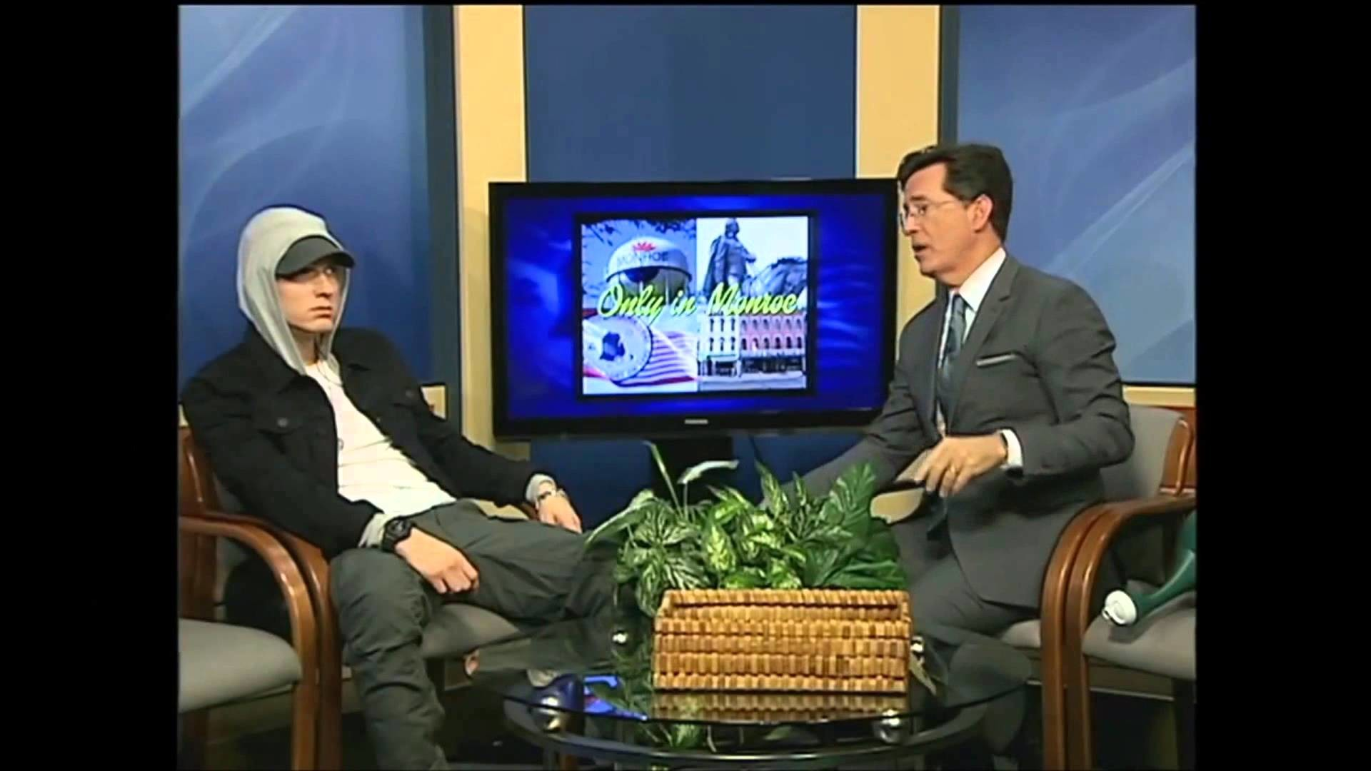 1920x1080 Detroit rapper Eminem joins Stephen Colbert for local television show spot
