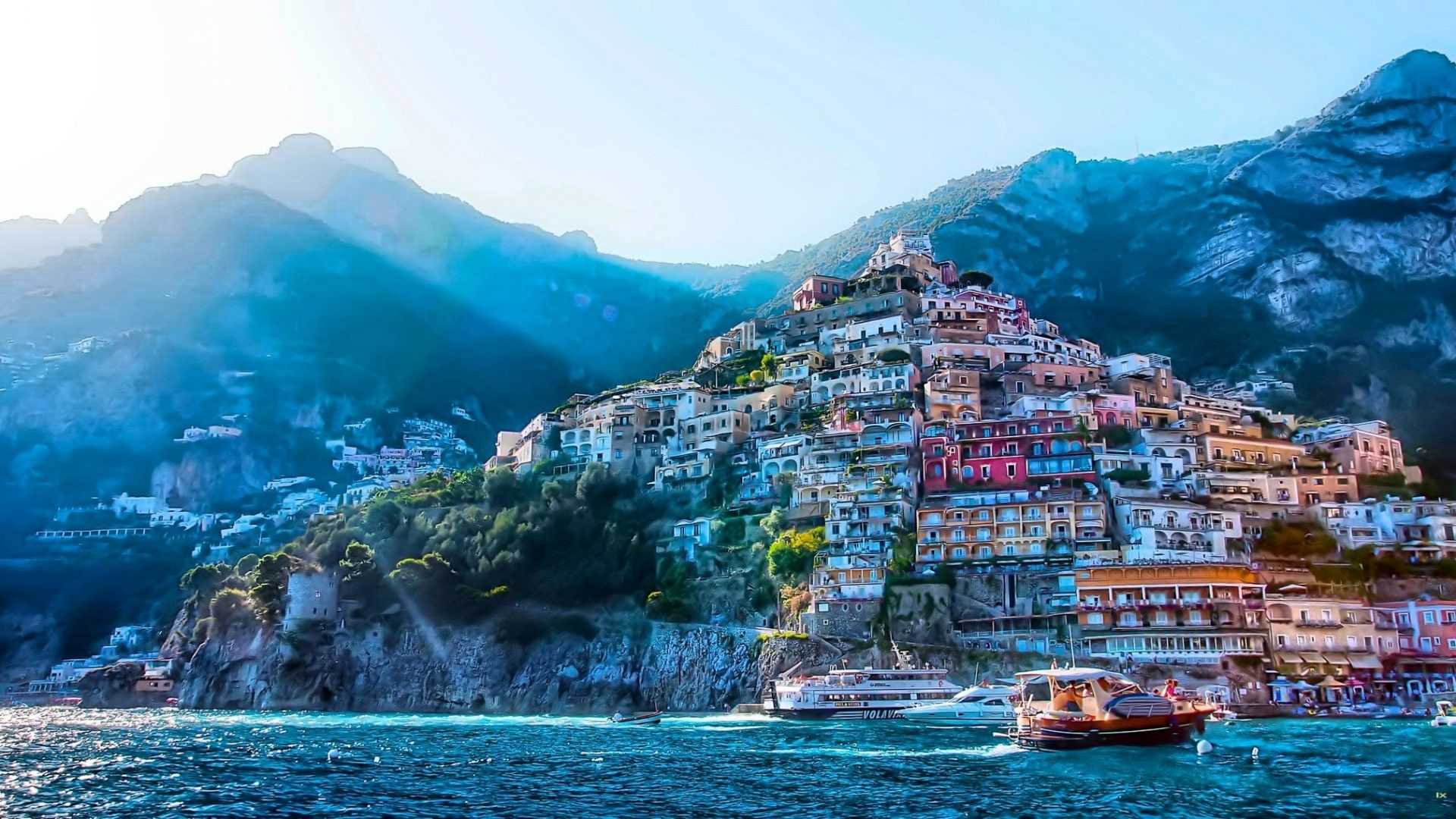 1920x1080 Other - Positano Italy Italia Town Coast Panorama Landcapes Architecture  Village Sea Sun Mountains Full HD