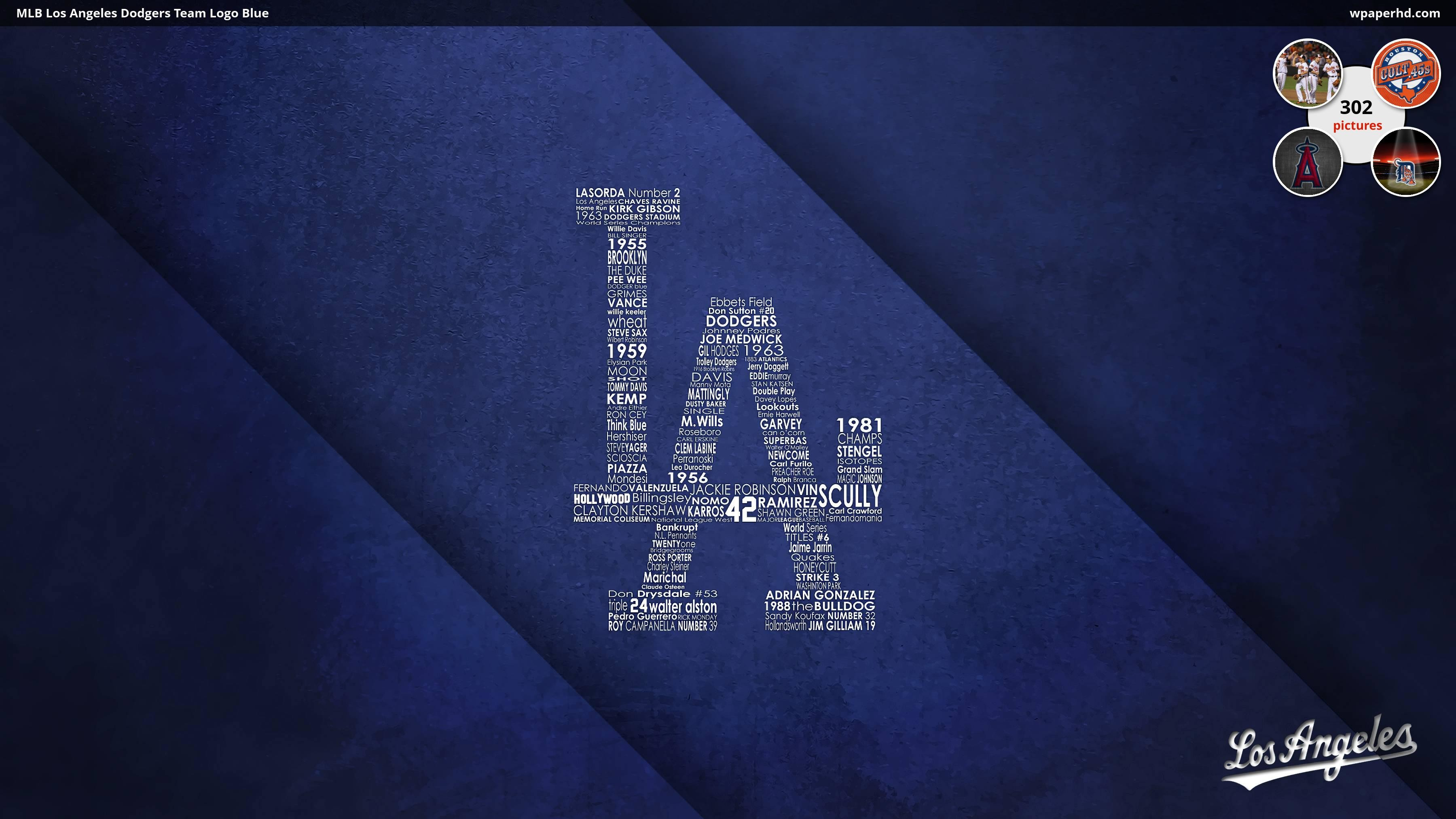3600x2025 MLB Los Angeles Dodgers Team Logo Blue Wallpaper