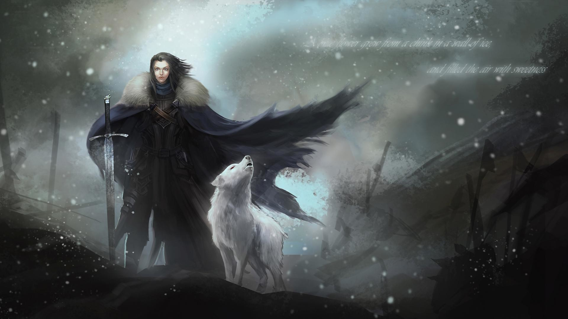 1920x1080 http://staticdn.lovities.com/img/post/719612004/jon-snow-y-fantasma-15507.jpeg  | Winter is coming | Pinterest