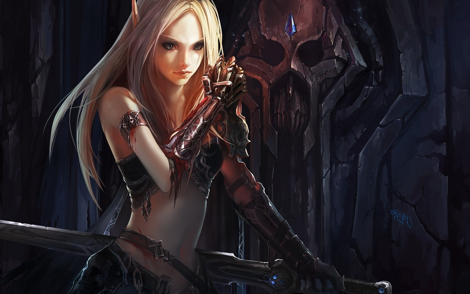 1920x1200 Video Game - World Of Warcraft - Fantasy - Woman - Elf - Magic Wallpaper