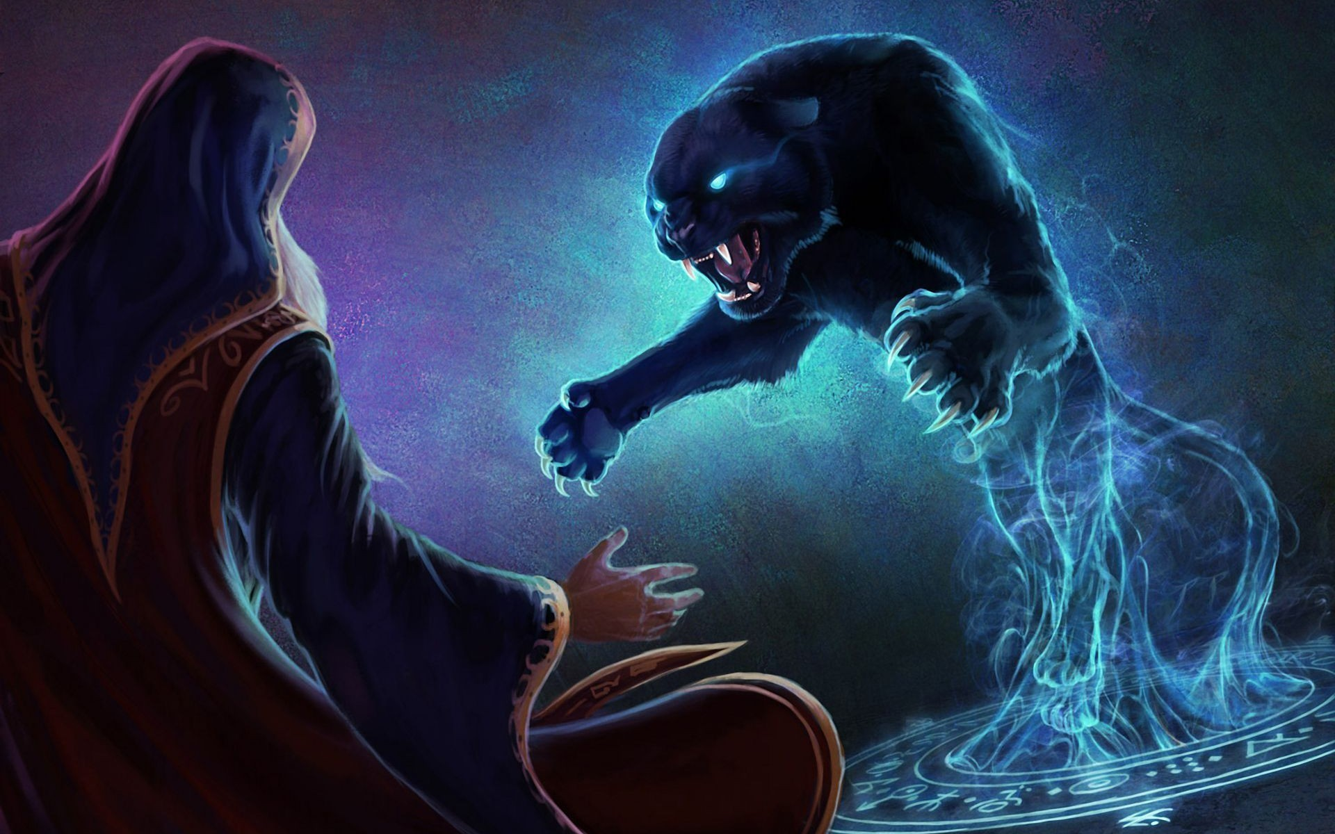 Great 1920x1200 Pictures Of Fantasy Cats | Magician Pentagram Panther Fantasy Art  Animals Cats Dark Sorcerer . Awesome Design