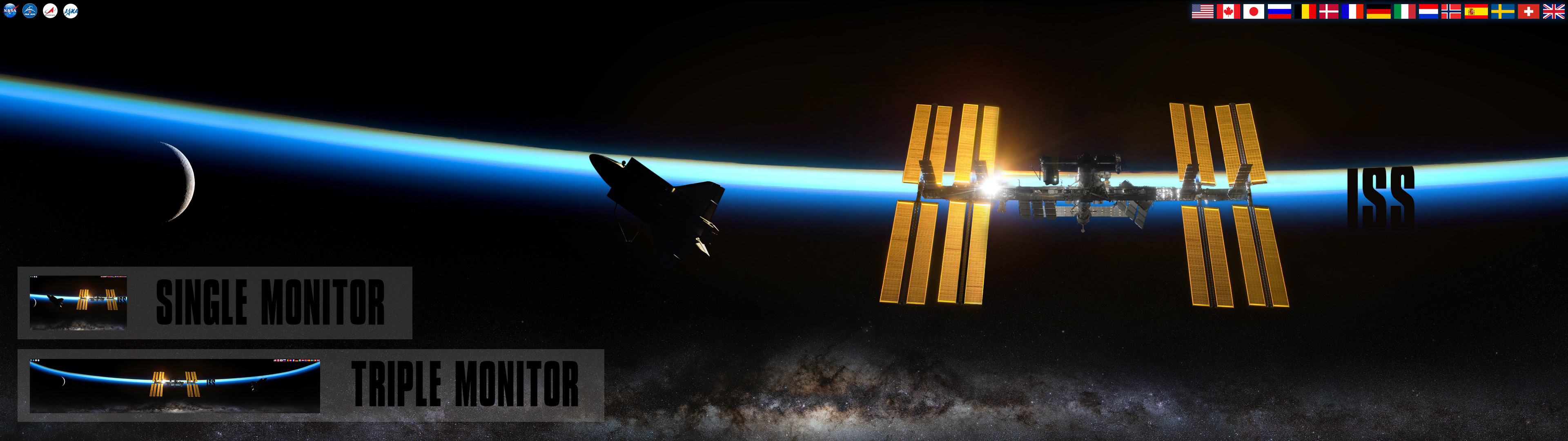 3840x1080 ... NASA ISS - International Space Station Wallpaper by foxgguy2001