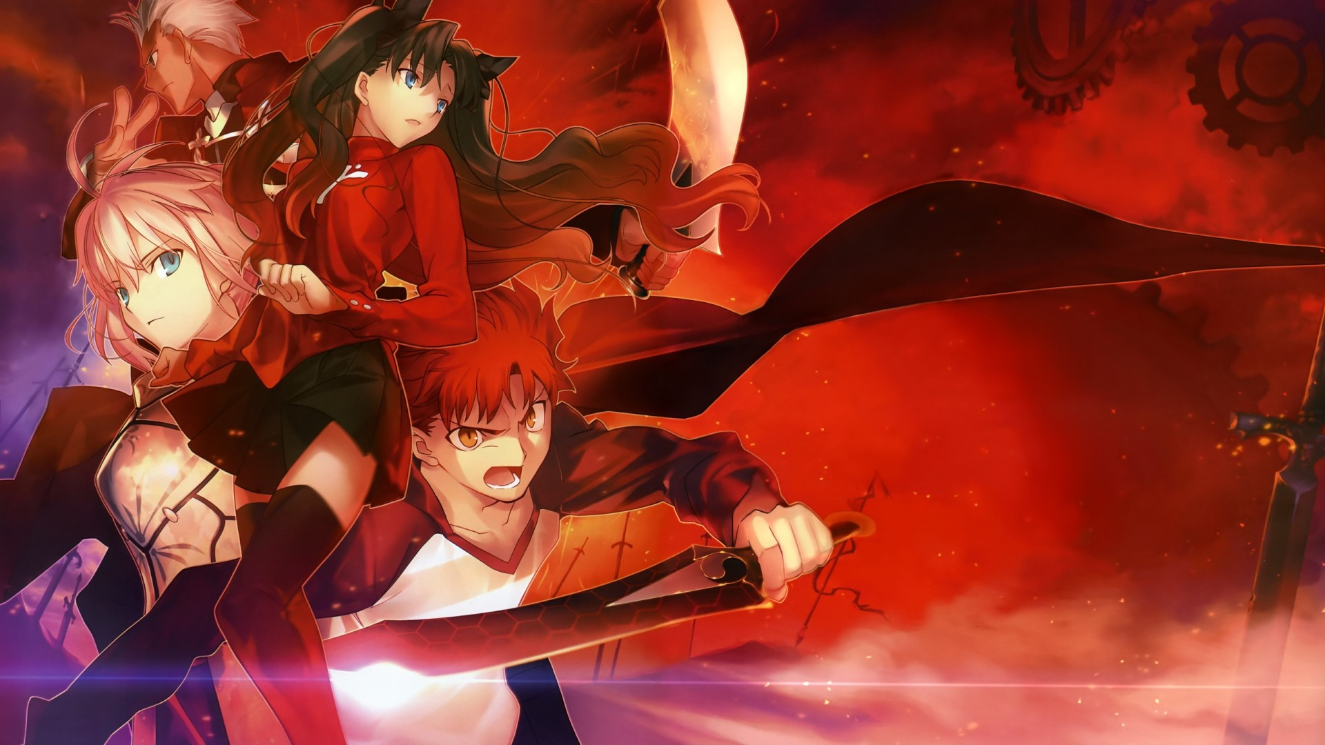 1920x1080  Wallpaper fate stay night, anime, warrior, space, background