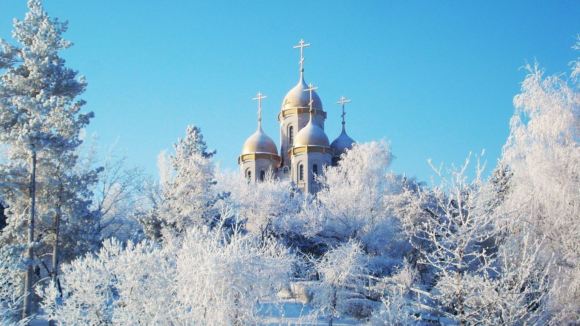 1920x1080 Church Winter Wonderland Snow Ice Building Nature Trees Best Wallpapers -  1920x1200