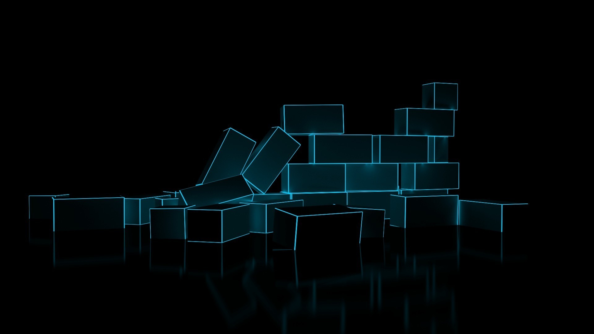 1920x1080 digital Art, Minimalism, 3D, CGI, Bricks, Glowing, Reflection, Black  Background, Neon Light Wallpapers HD / Desktop and Mobile Backgrounds