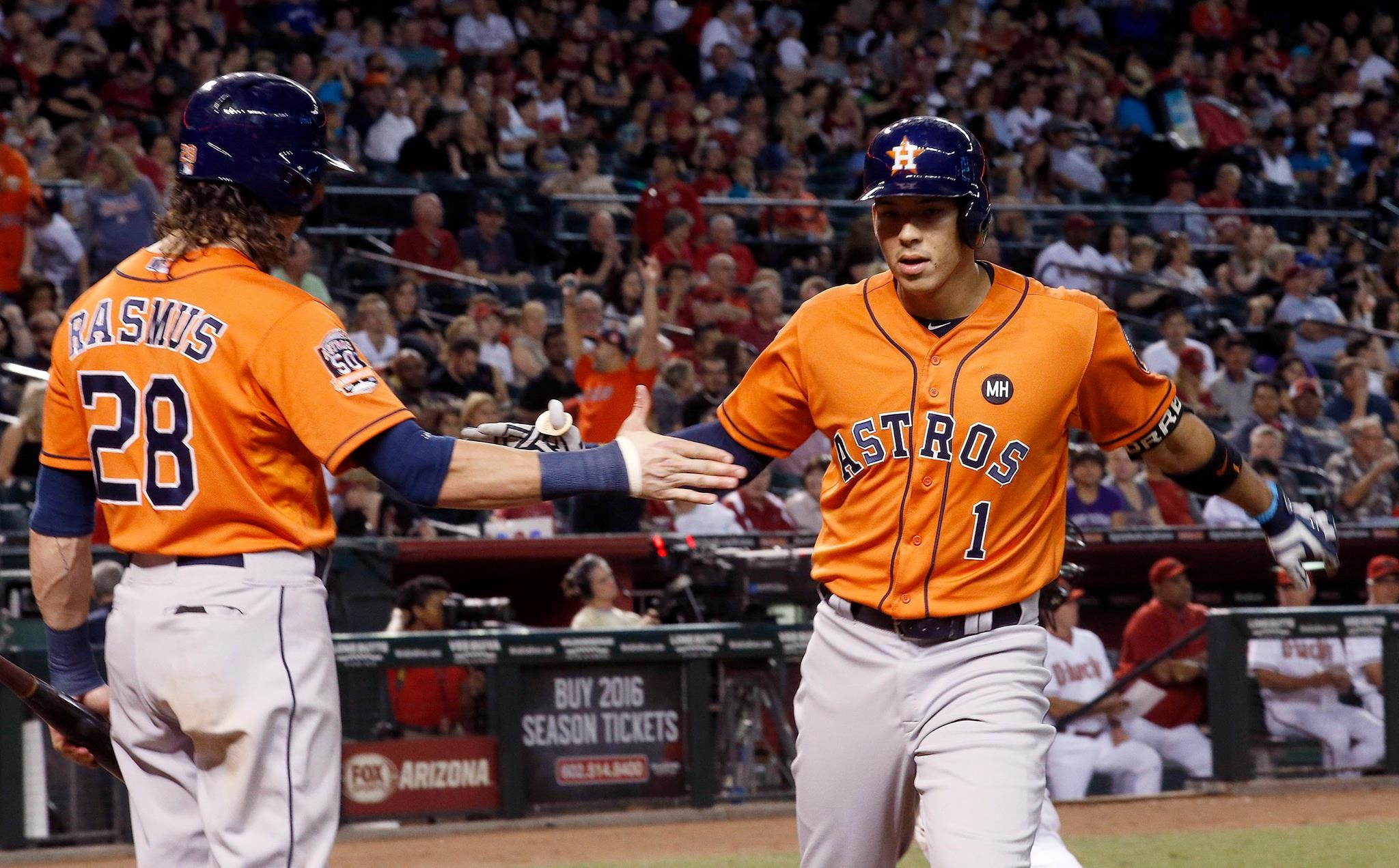 2048x1271 Colby Rasmus congratulates Carlos Correa after a record-breaking 22nd  homerun of the season.