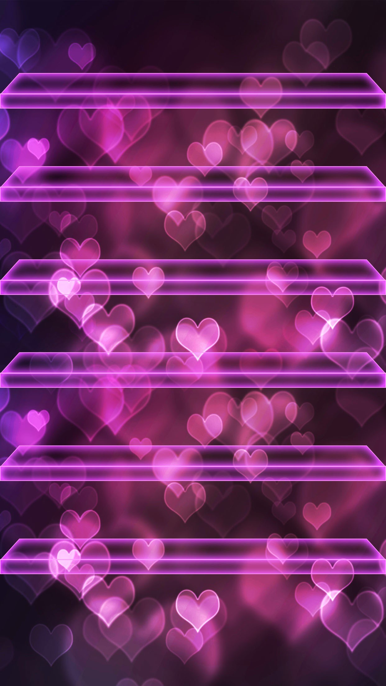 1242x2208 ↑↑TAP AND GET THE FREE APP! Shelves Hearts Bokeh Pink Neon Love Romantic