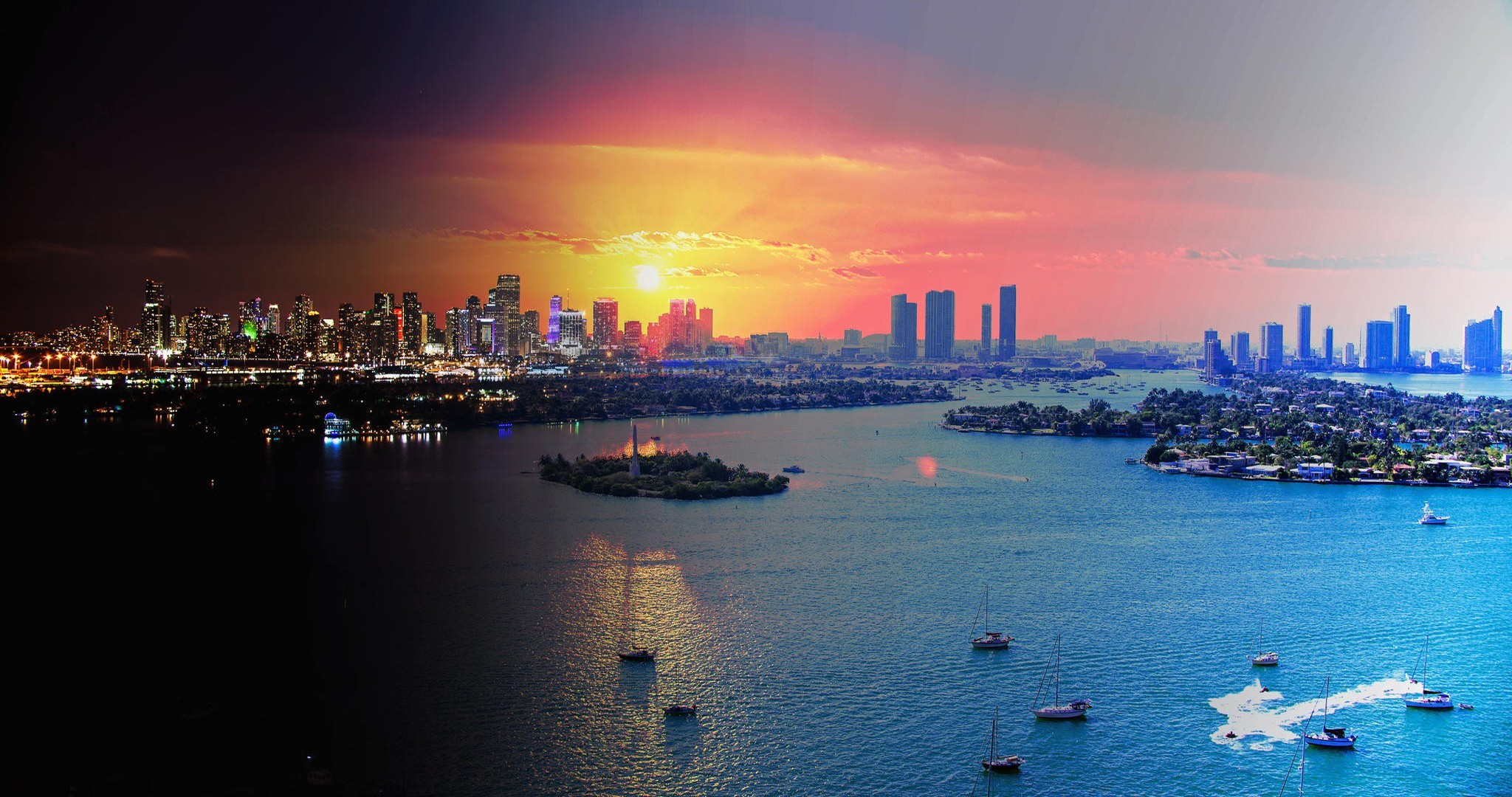 2048x1080 Wallpaper miami fl florida miami evening lights vice city .