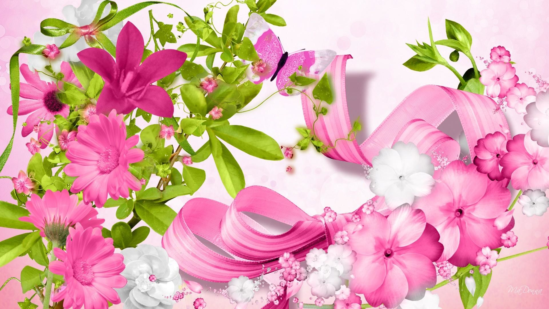 1920x1200 Pink Flowers 3D Wallpaper Background