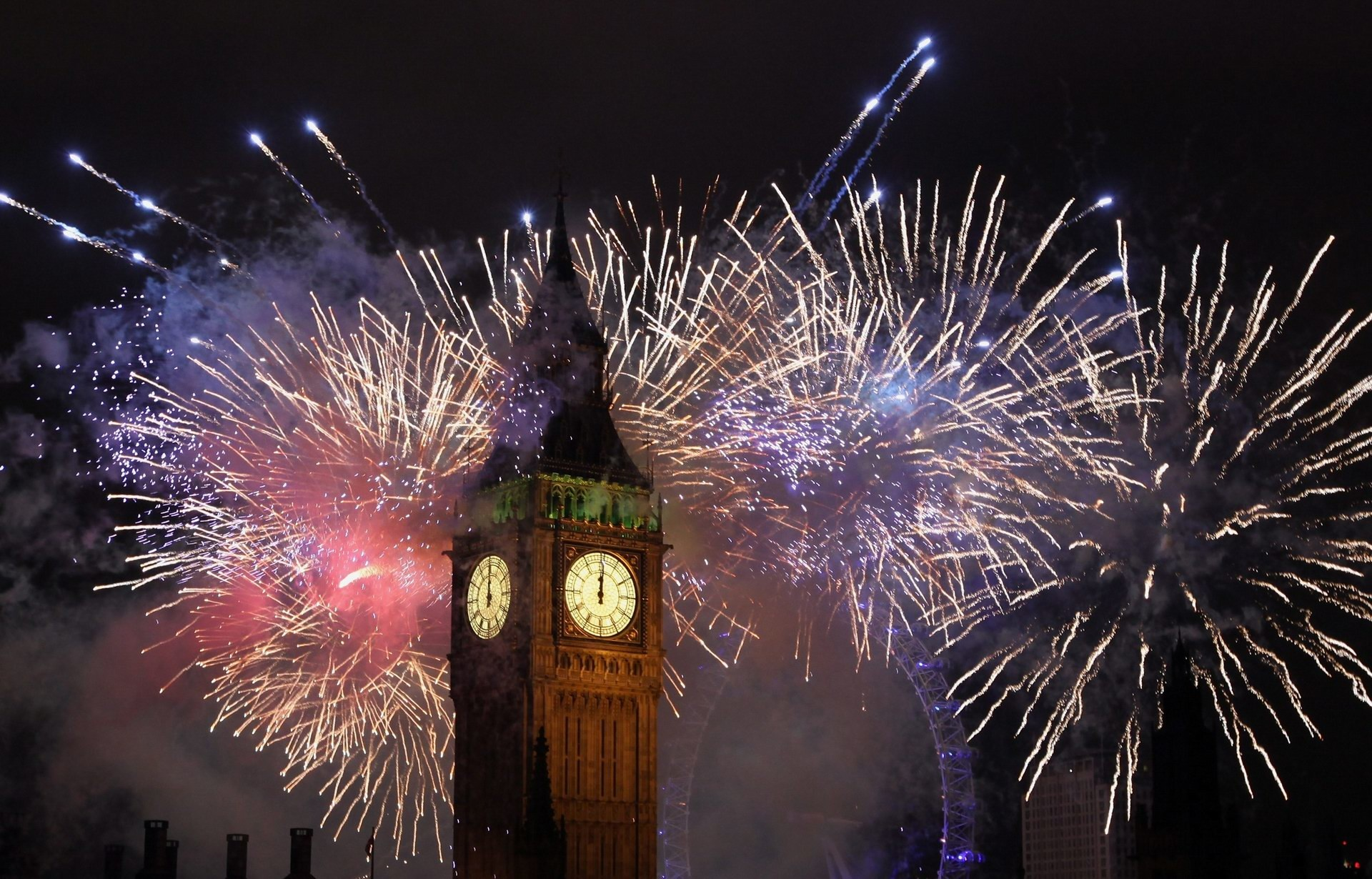 1920x1230 Big Ben Tower Firework Display Wallpaper