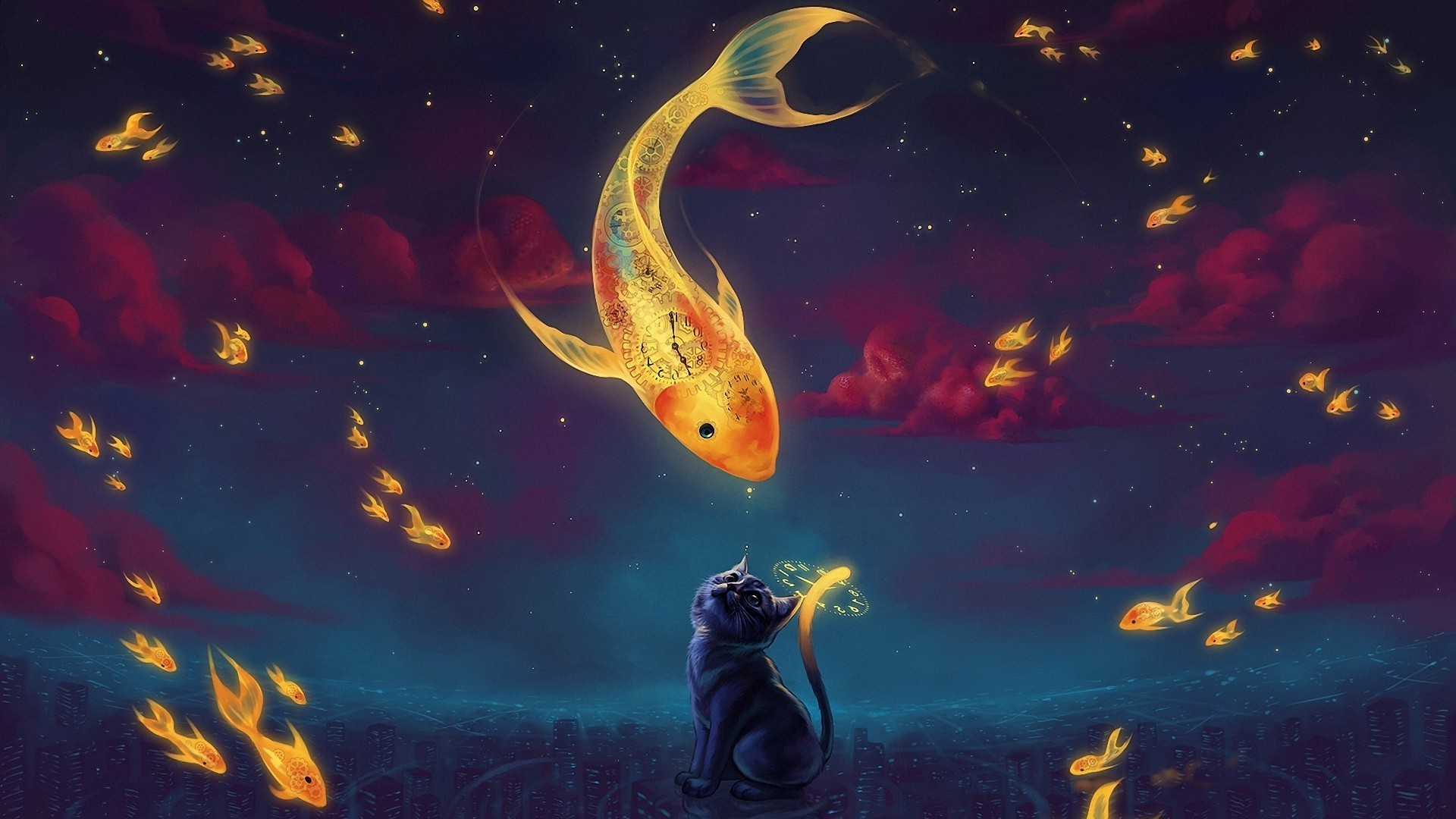 Surreal art wallpaper 65 images for Moving fish for cats
