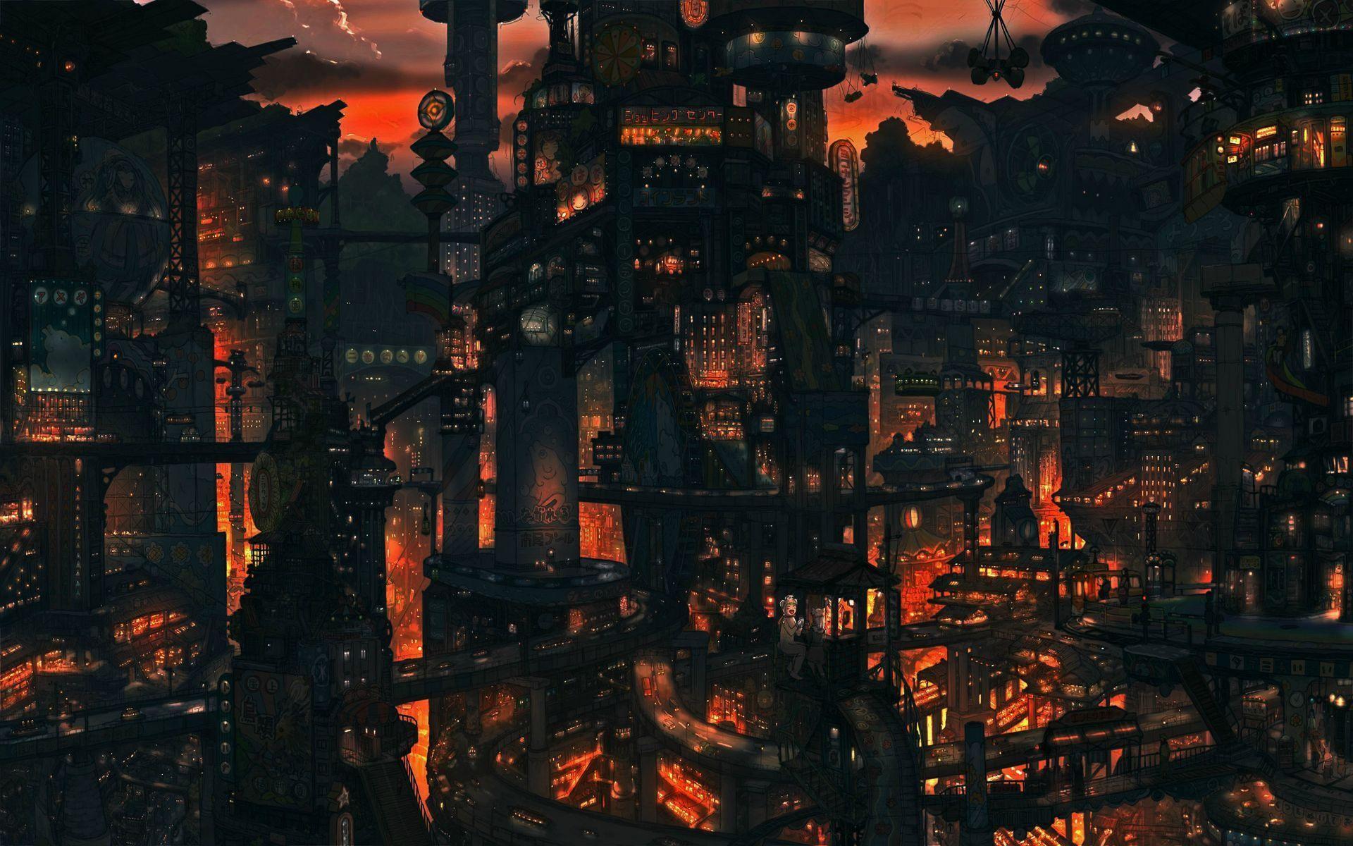 2880x1800 Painting Sci Fi Futuristic City Rain