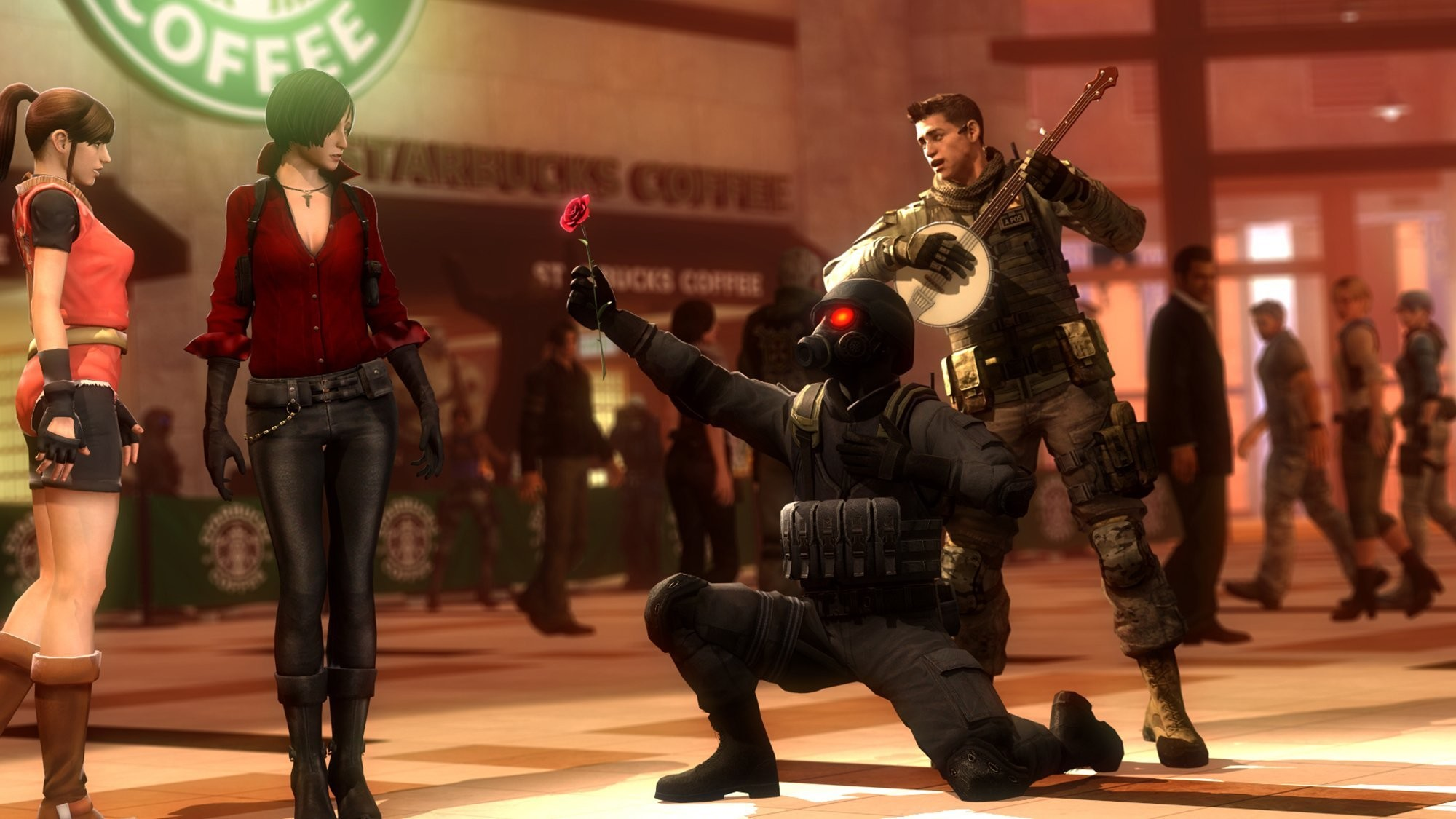 2000x1125 resident evil hunk nikolai zinoviev piers nivans chris redfield guitars  love flower ada wong rendering