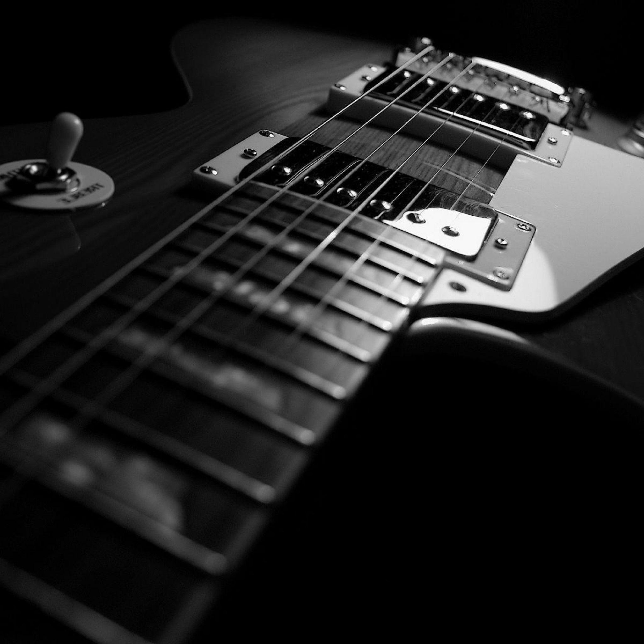 2048x2048 Black Guitar Wallpaper