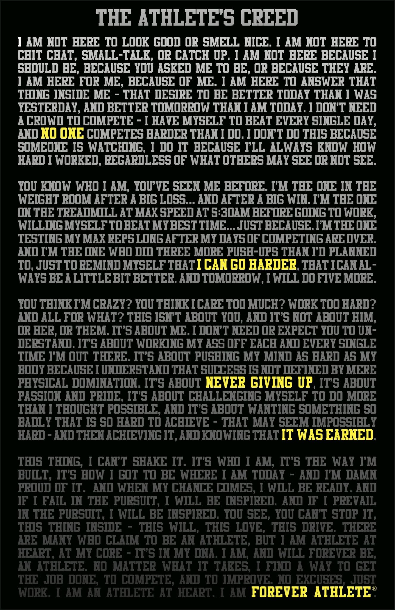 1326x2048 Motivational Wallpaper The Athlete's Creed By Sarah Madey@dontgiveupworld