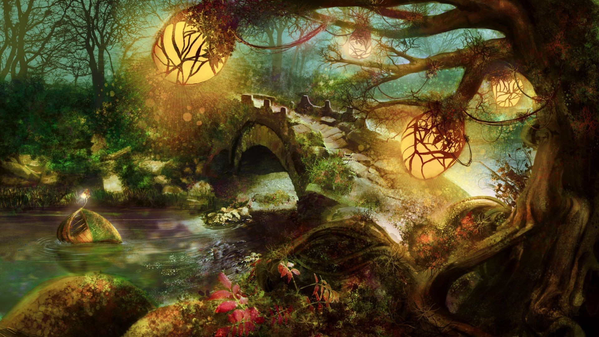 1920x1080 Fantasy Woodland wallpaper - 843752