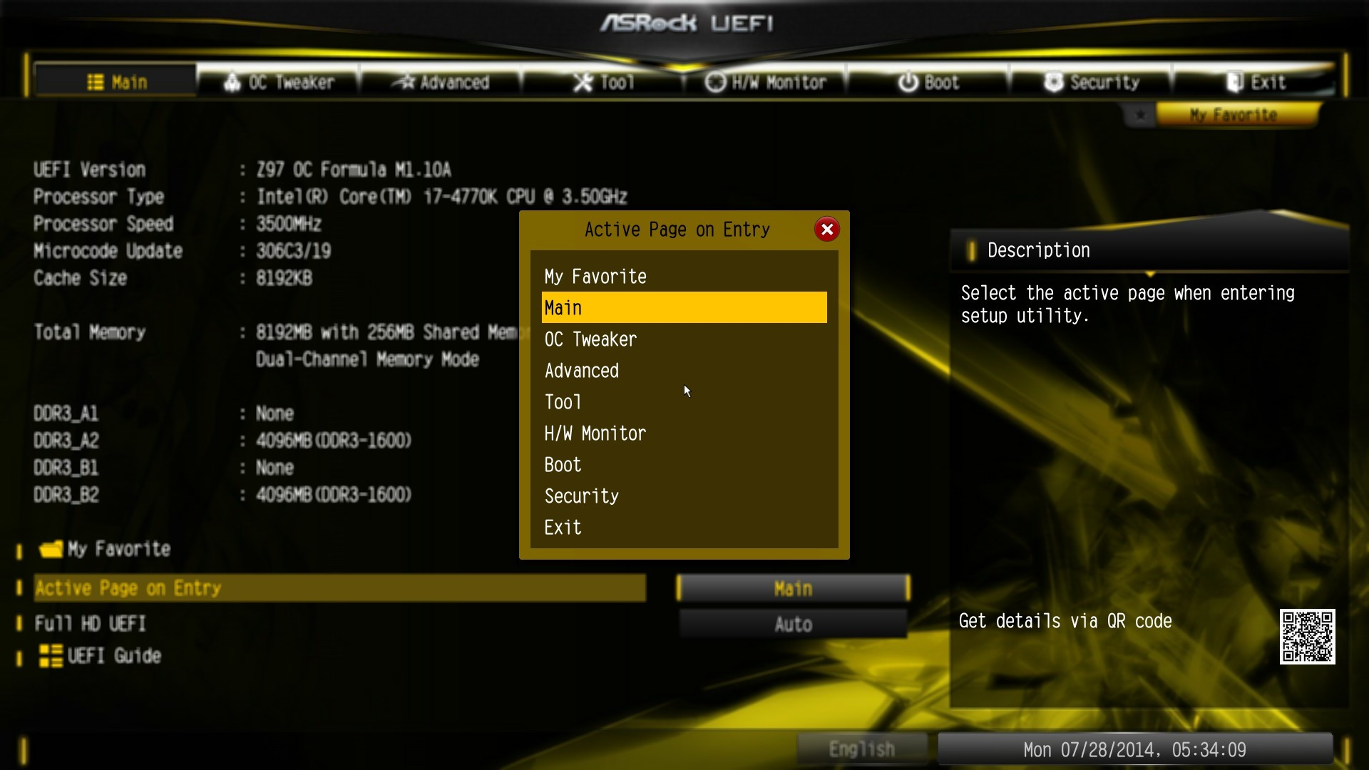 1920x1080 The My Favorite option menu allows users to select any option from the BIOS  for a custom menu. This is particularly useful for overclockers that adjust  the ...