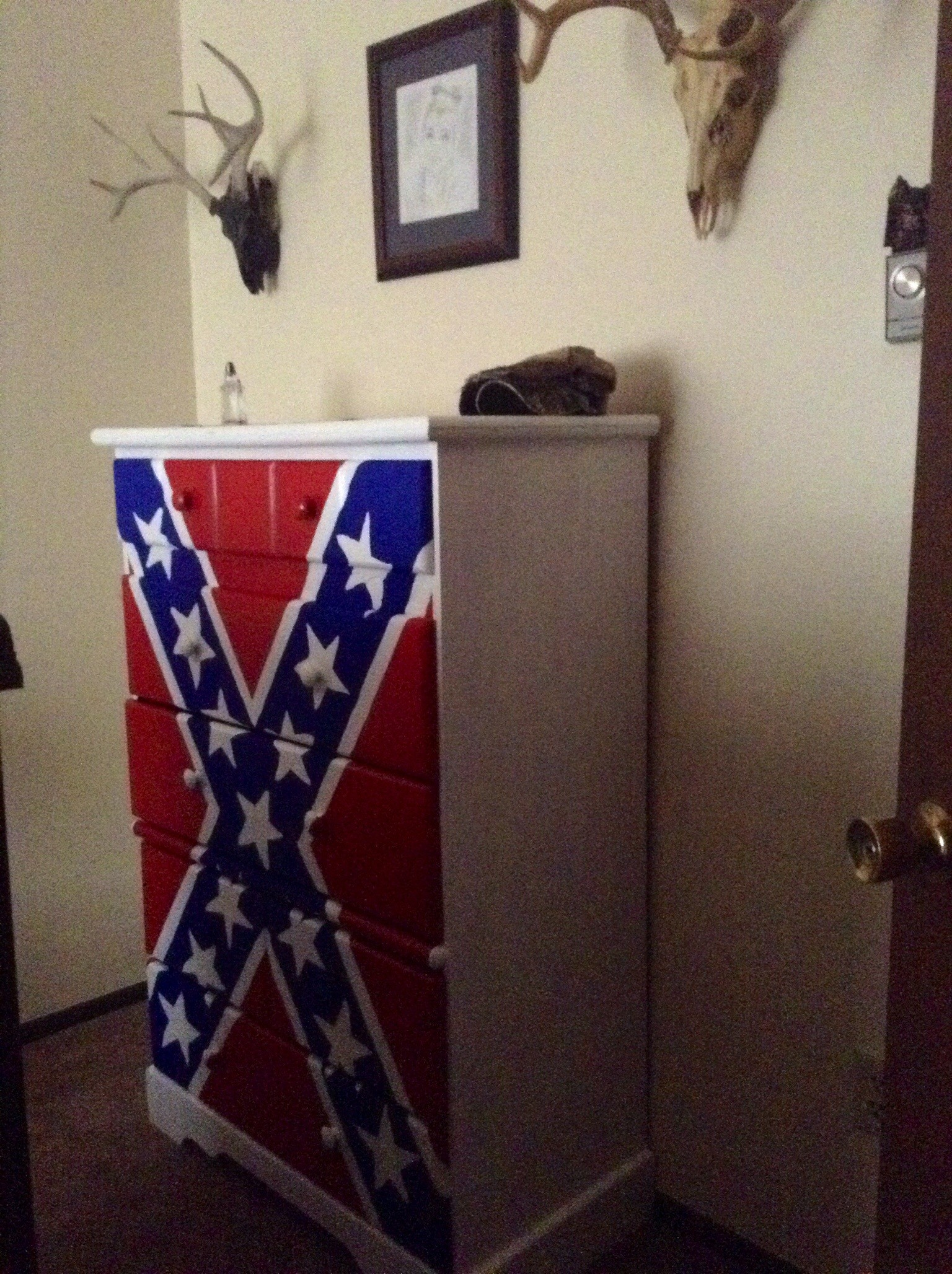 1536x2056 Rebel Flag: Old dresser, paint and stencil.
