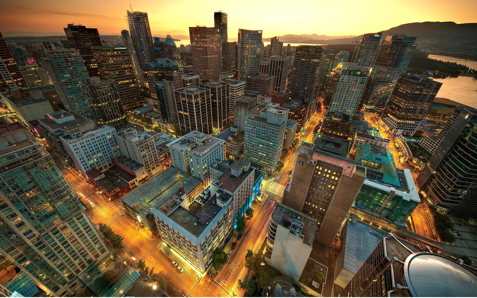 1920x1200 Downtown Vancouver Sunset in Canada city wallpaper