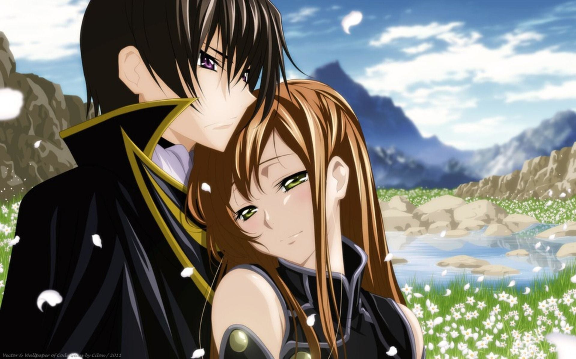 1920x1199 Romantic Anime Wallpaper Couples Hugging Winter Season Romantic .