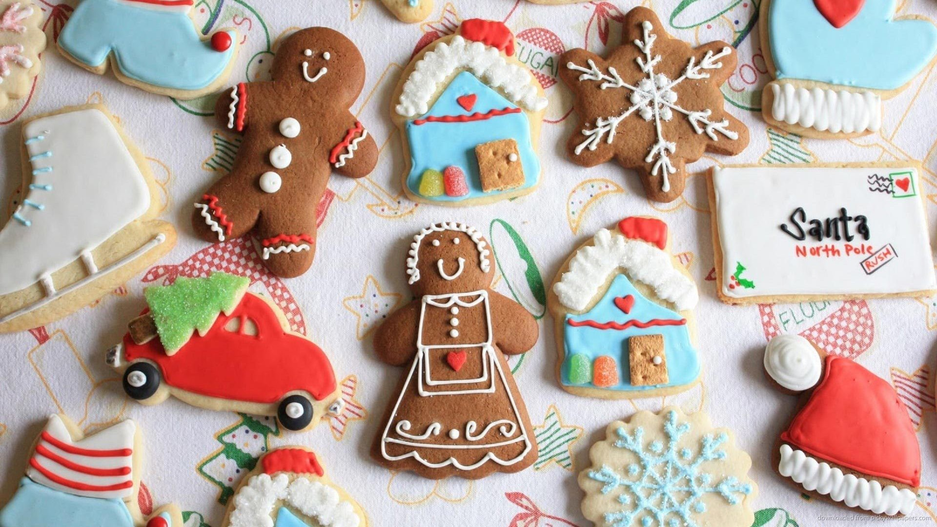 1920x1080 Cute Assorted Holiday Christmas Cookies Wallpaper picture