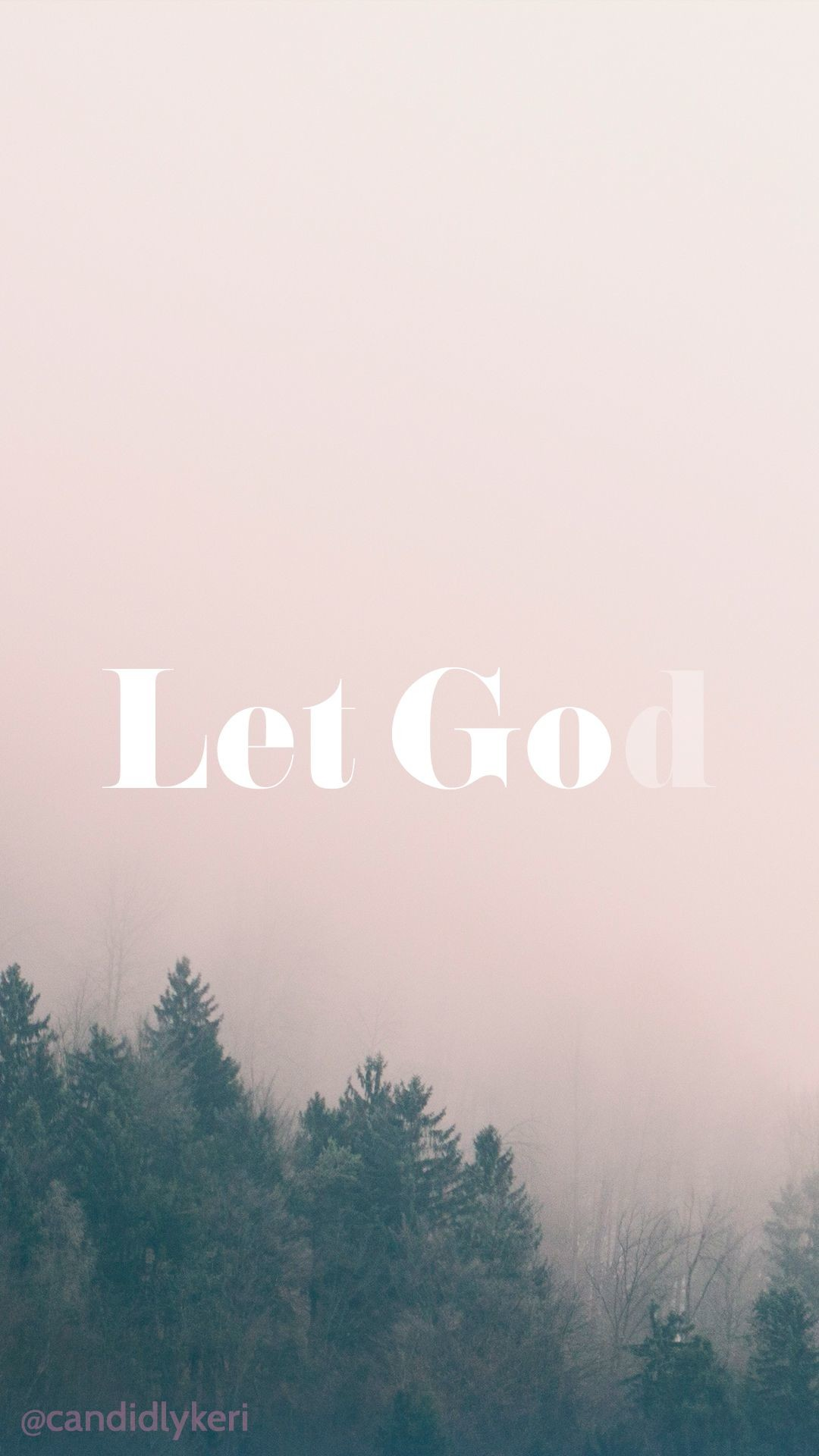 1080x1920 Let Go and Let God quote nature fog wallpaper with black and white flowers  free download for iPhone android or desktop background on the blog!