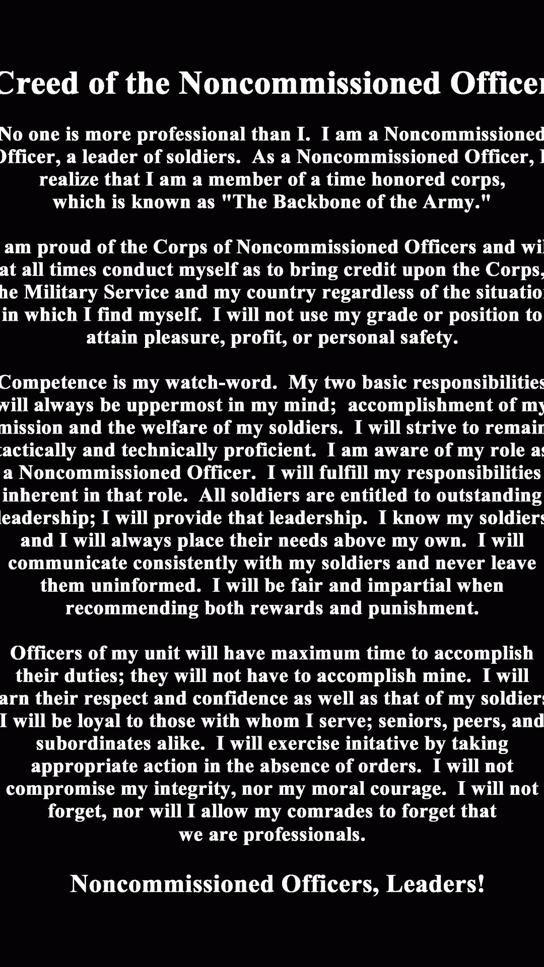 1080x1920 us army nco creed wallpaper