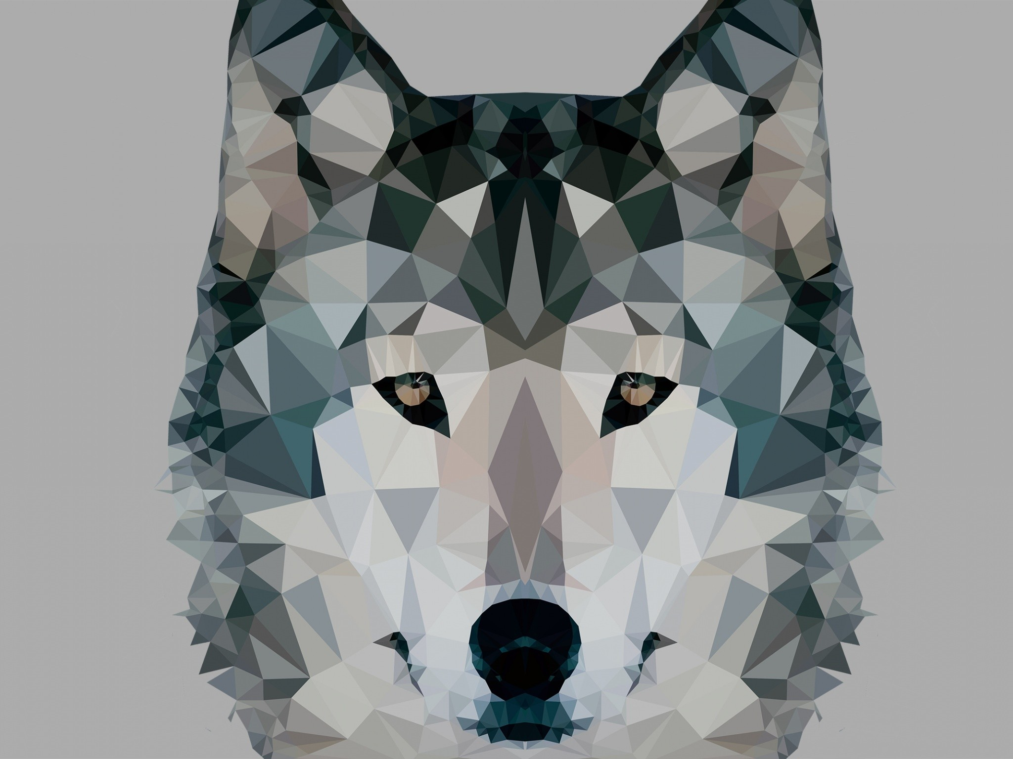 2048x1536 Abstract - Facets Wolf Wallpaper