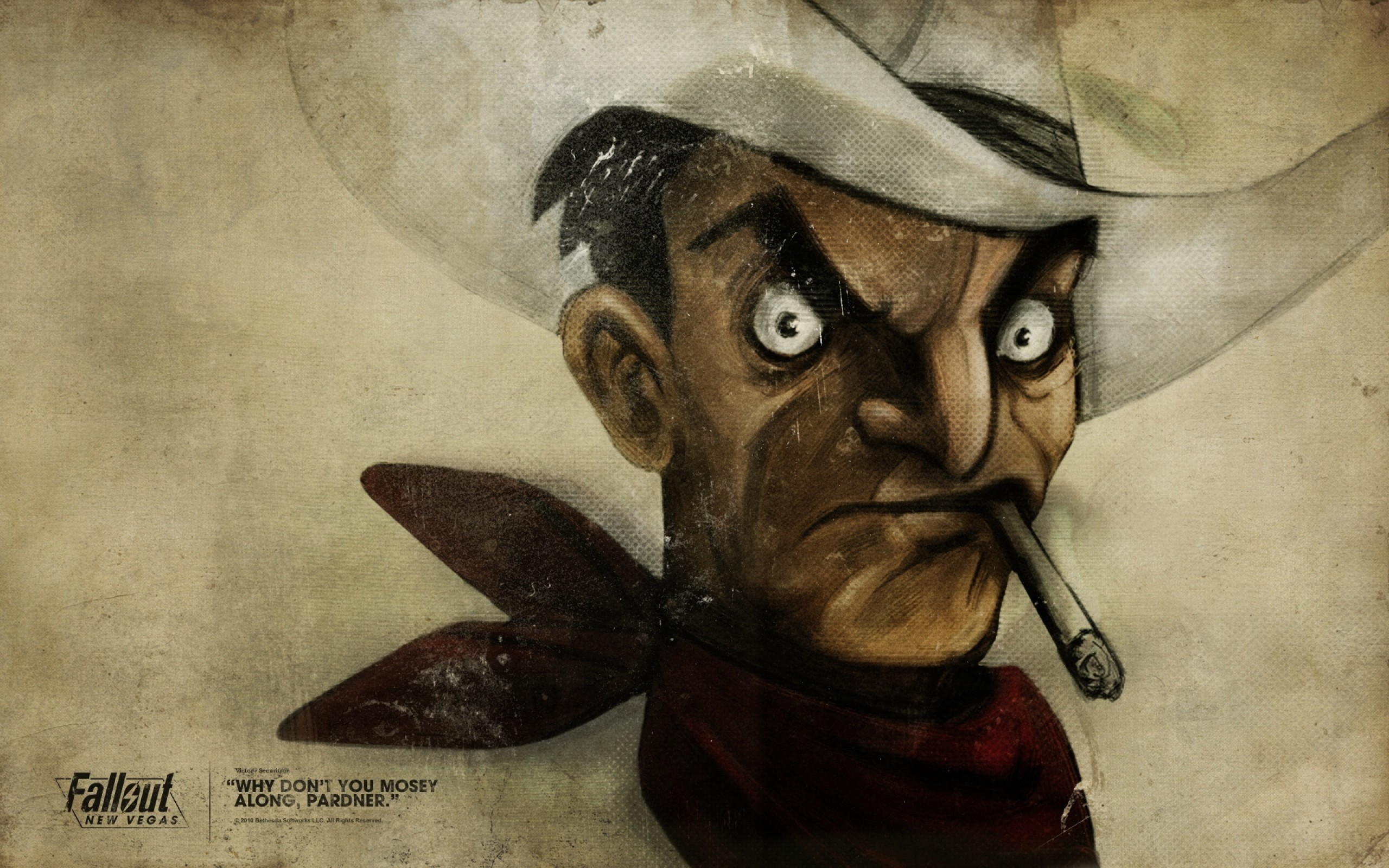 2560x1600 Preview wallpaper fallout, quote, cowboy, cigar, face