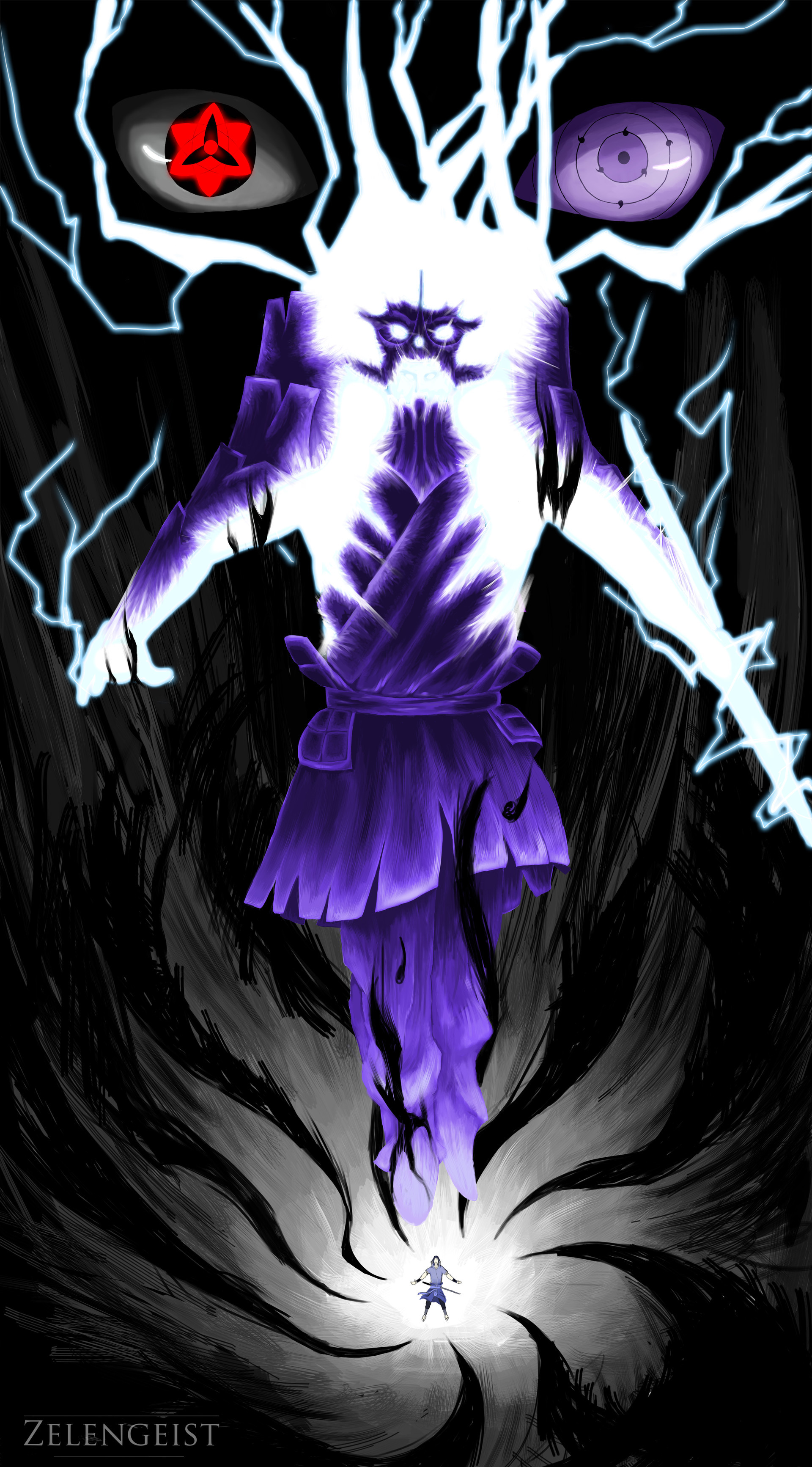 1920x3467 Sasuke entering a downward spiral as he powers up his Susanoo.