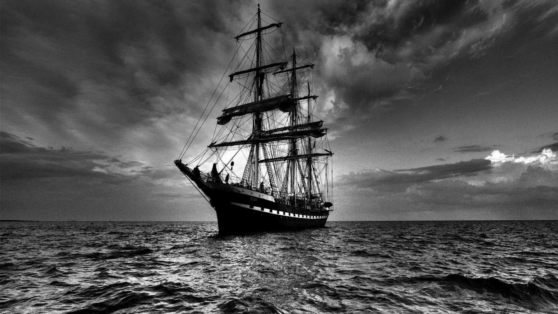 1920x1080 Preview wallpaper ship, sea, sail, storm, black white