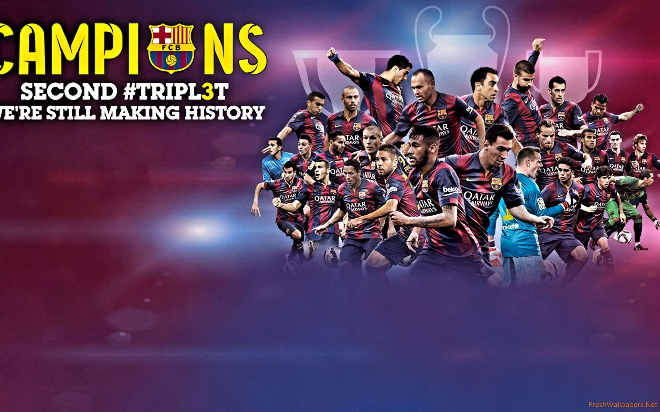 2560x1600 Barca 2015 The Treble Champions wallpaper