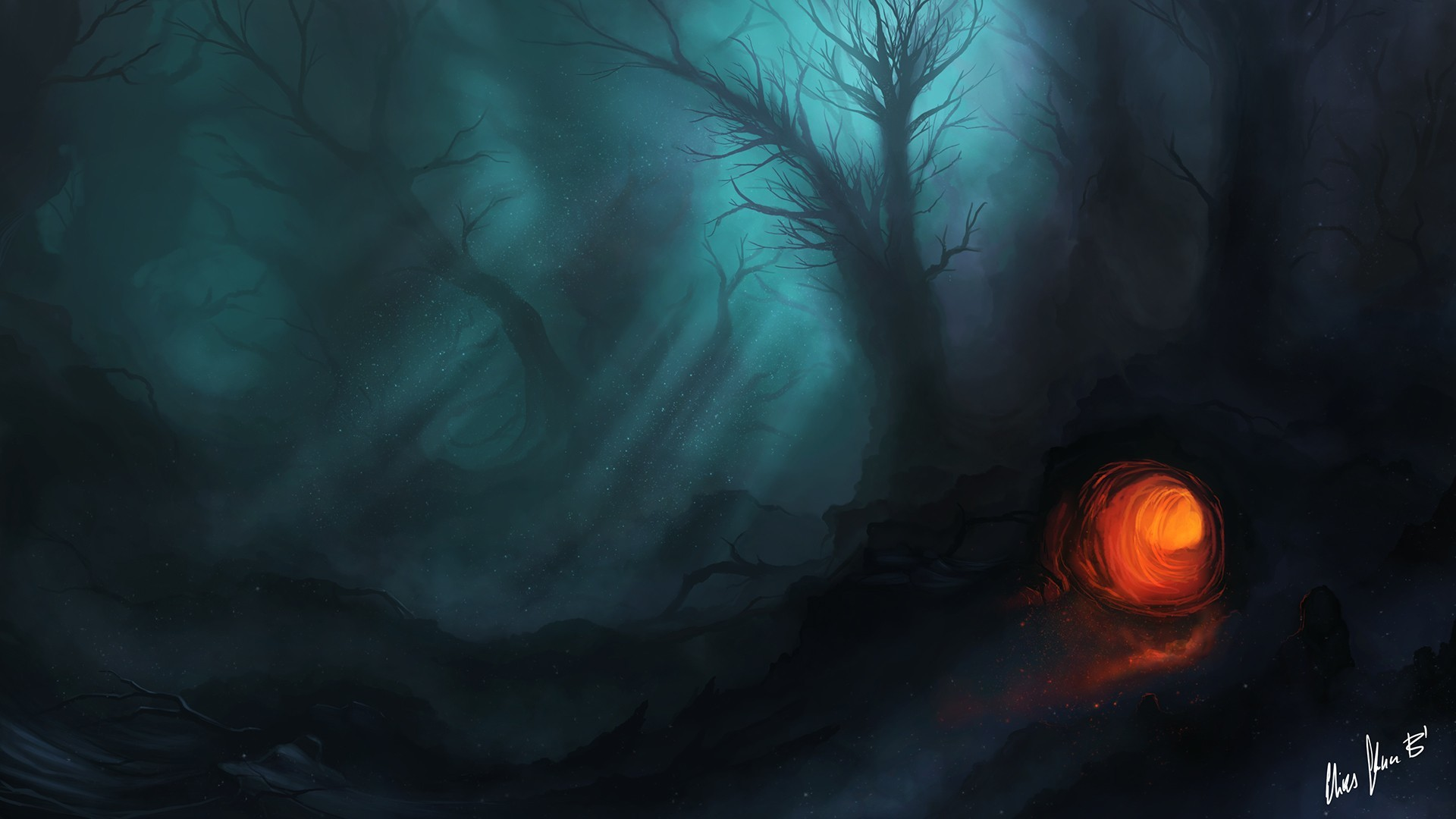 1920x1080 Artwork Dark Fantasy Art Forests Night Trees