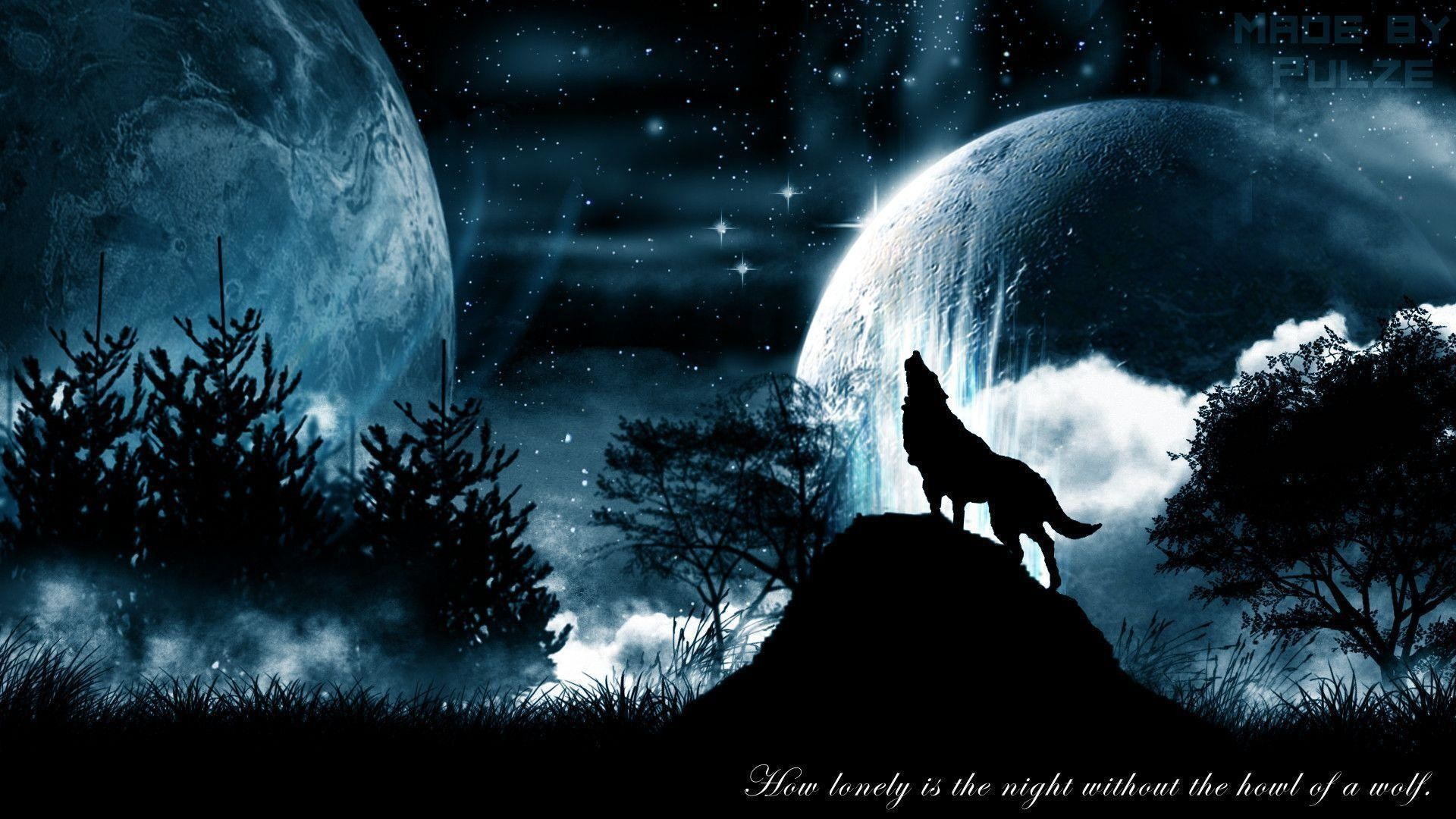 1920x1080 Howling Wolf Space Fog Black Mist Quote Blue wallpaper #