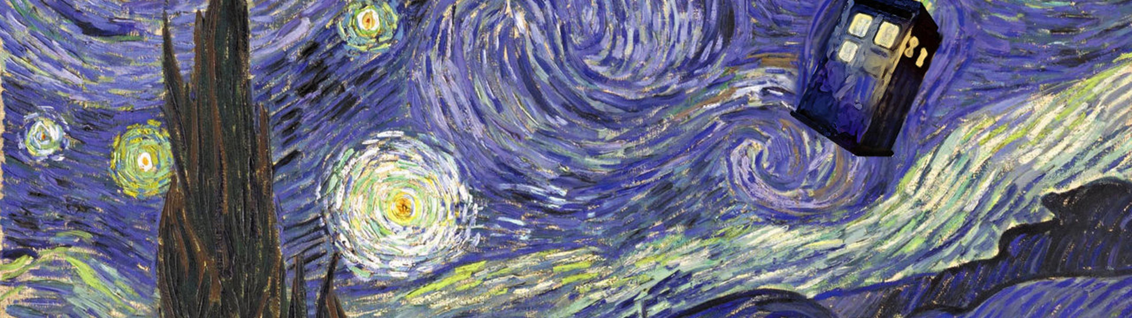 3840x1080 doctor who starry night tardis vincent van gogh Ultra or Dual High .