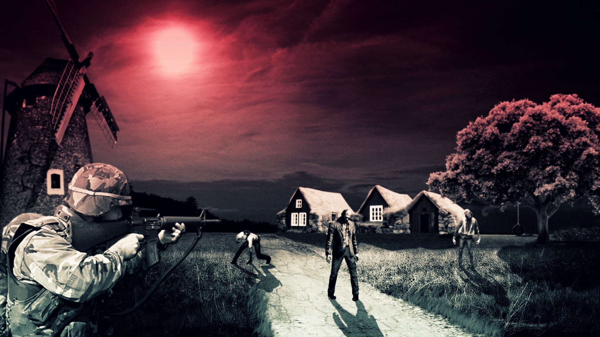 1920x1080 soldiers, zombies, Moon, fields, windmills :: Wallpapers