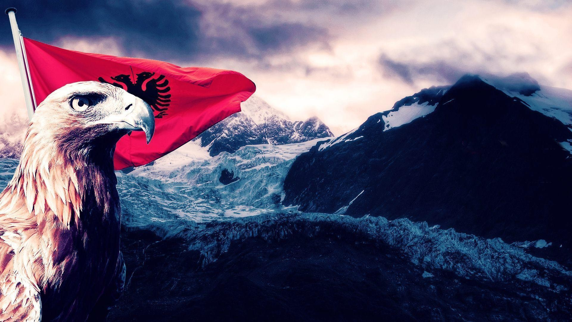1920x1080 Albania Flag Eagle Art Wallpapers