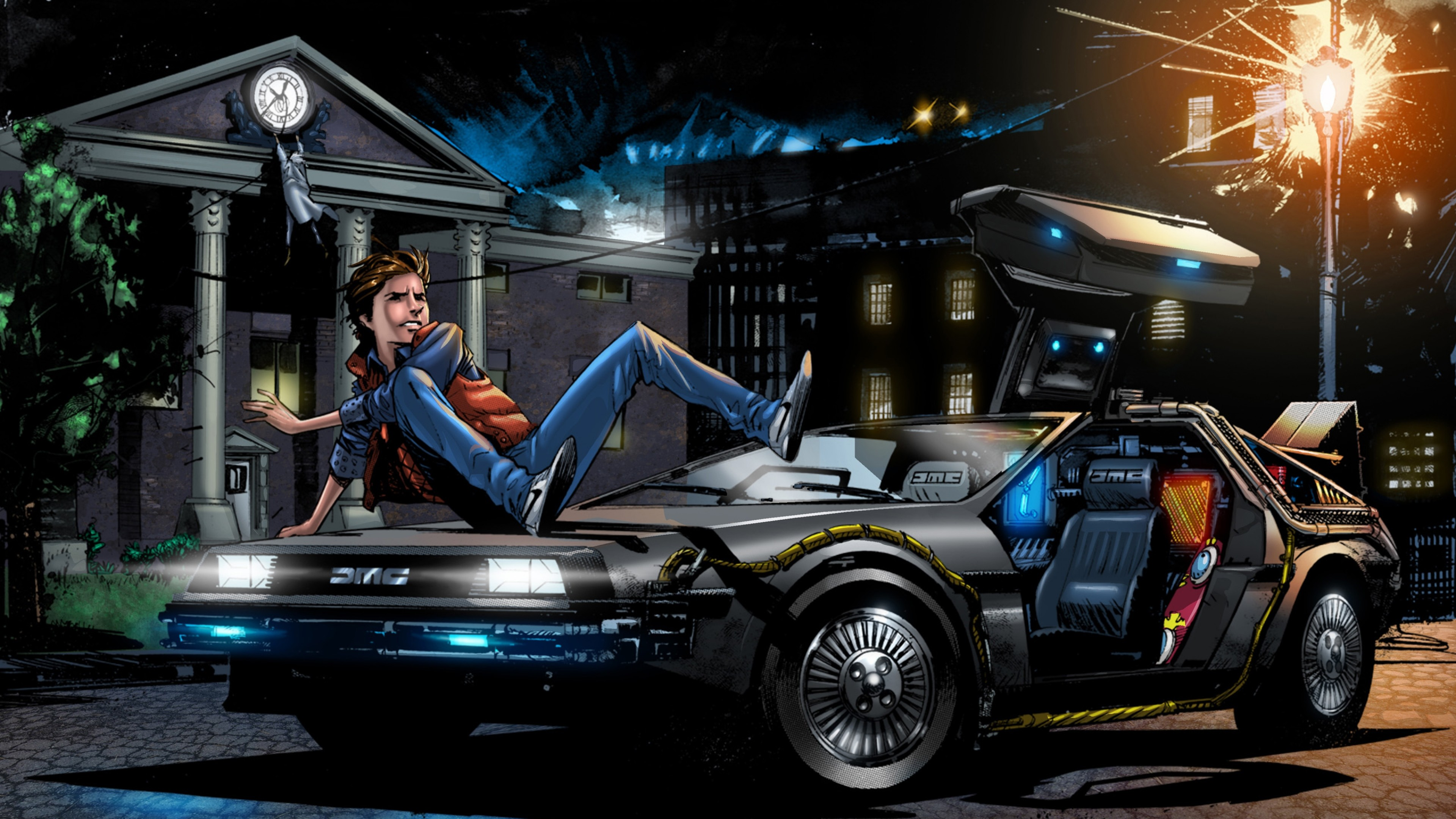 3840x2160 Preview wallpaper back to the future, marty mcfly, art, delorean dmc-12