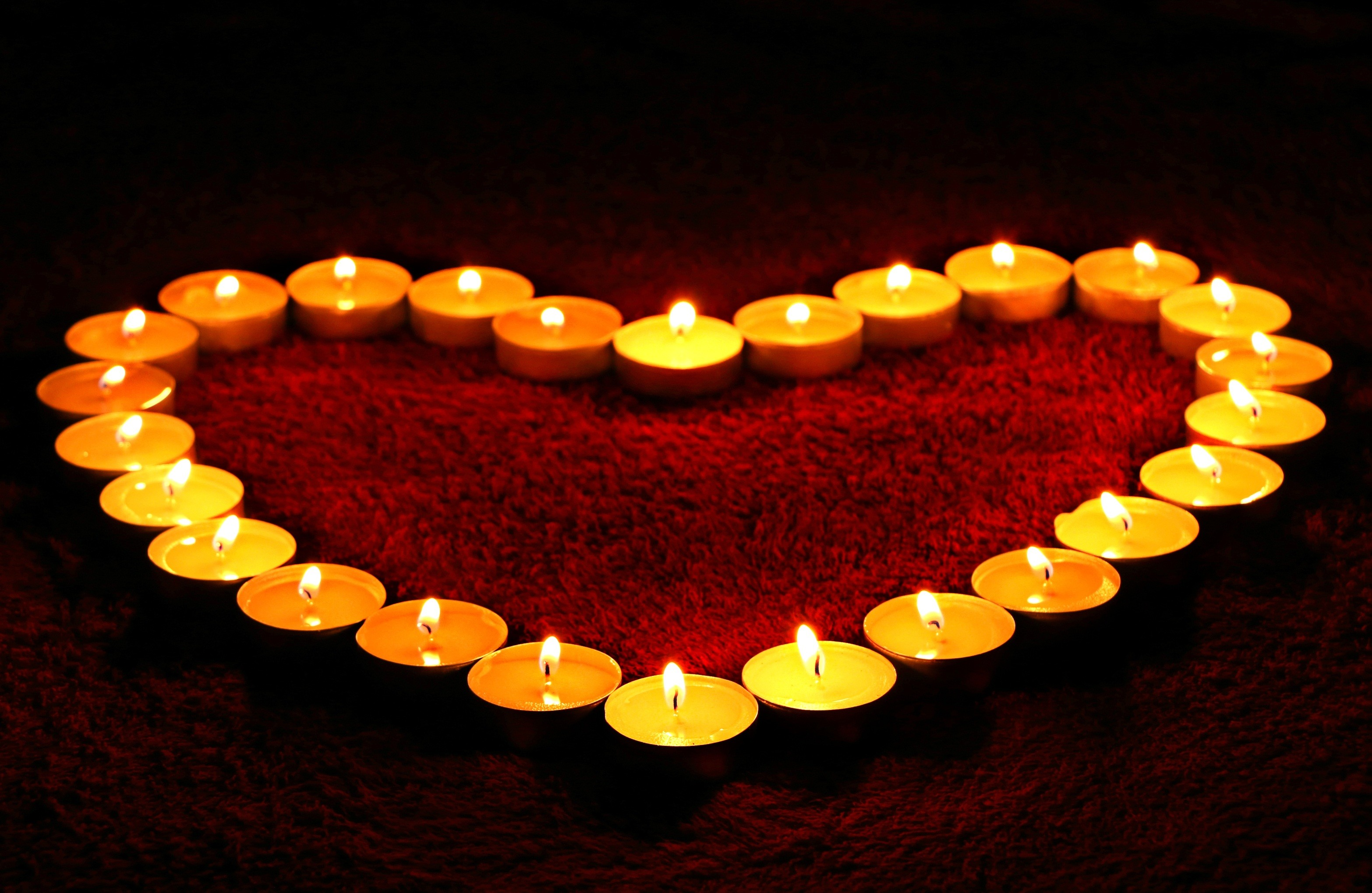 3132x2039 Love heart, Candle lights, HD