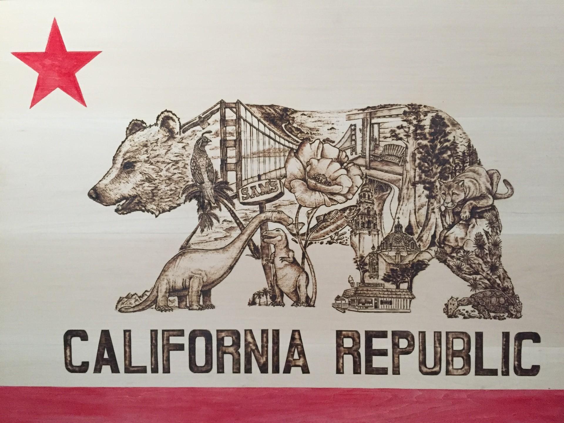 1920x1080 California Flag Wood Background Stock Illustration 211785682