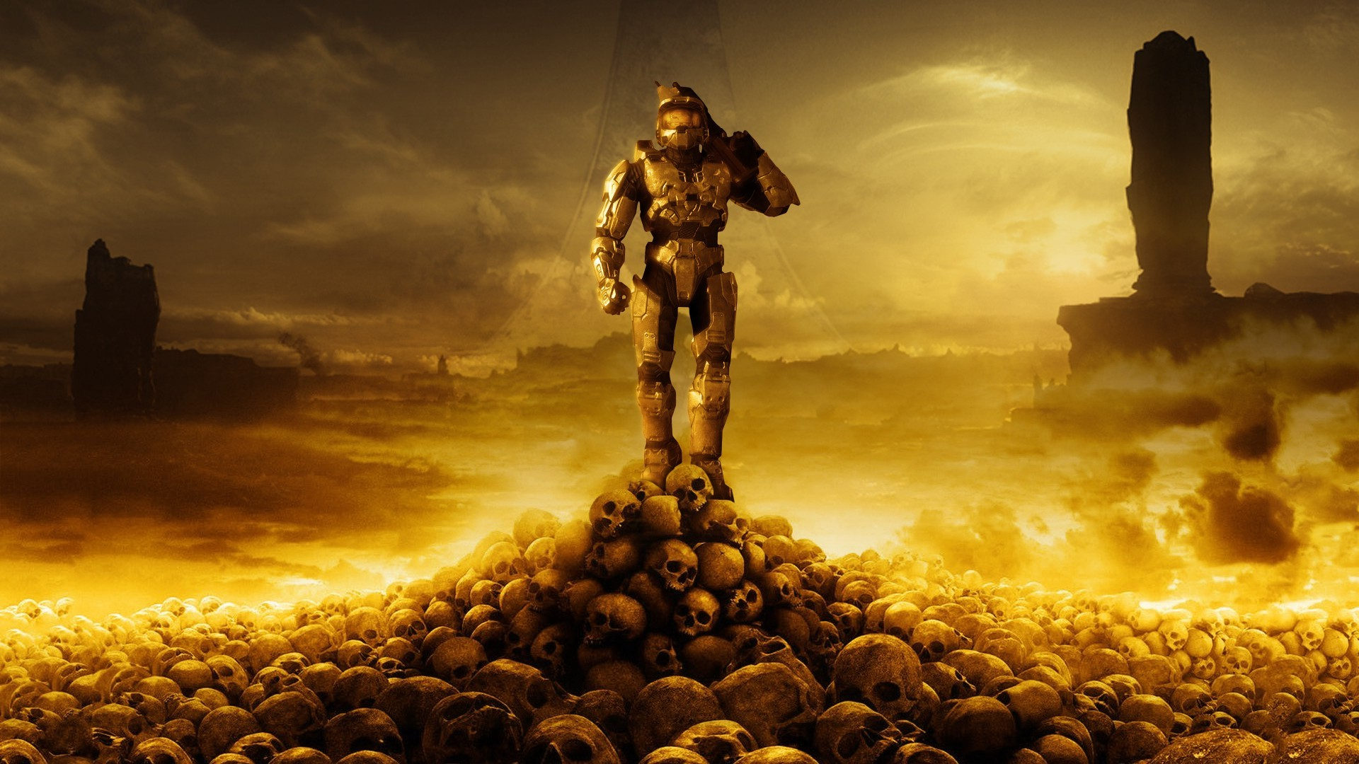 1920x1080 ... Master Chief, Halo 3, Skull, Video Games, Artwork Wallpapers