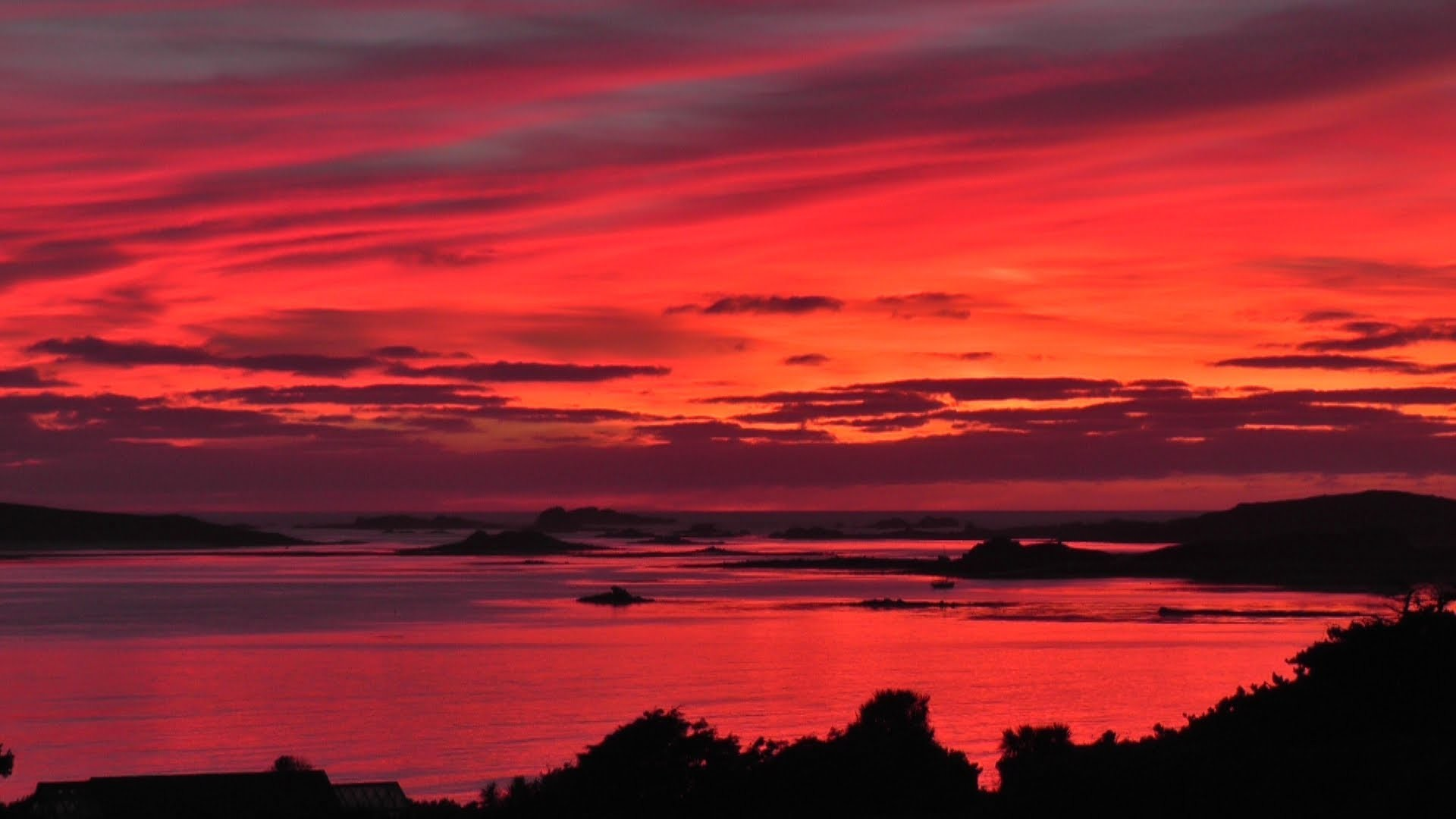 1920x1080 The Most Beautiful Sunset and Red Sky in The World Ever - Isles of Scilly -  YouTube
