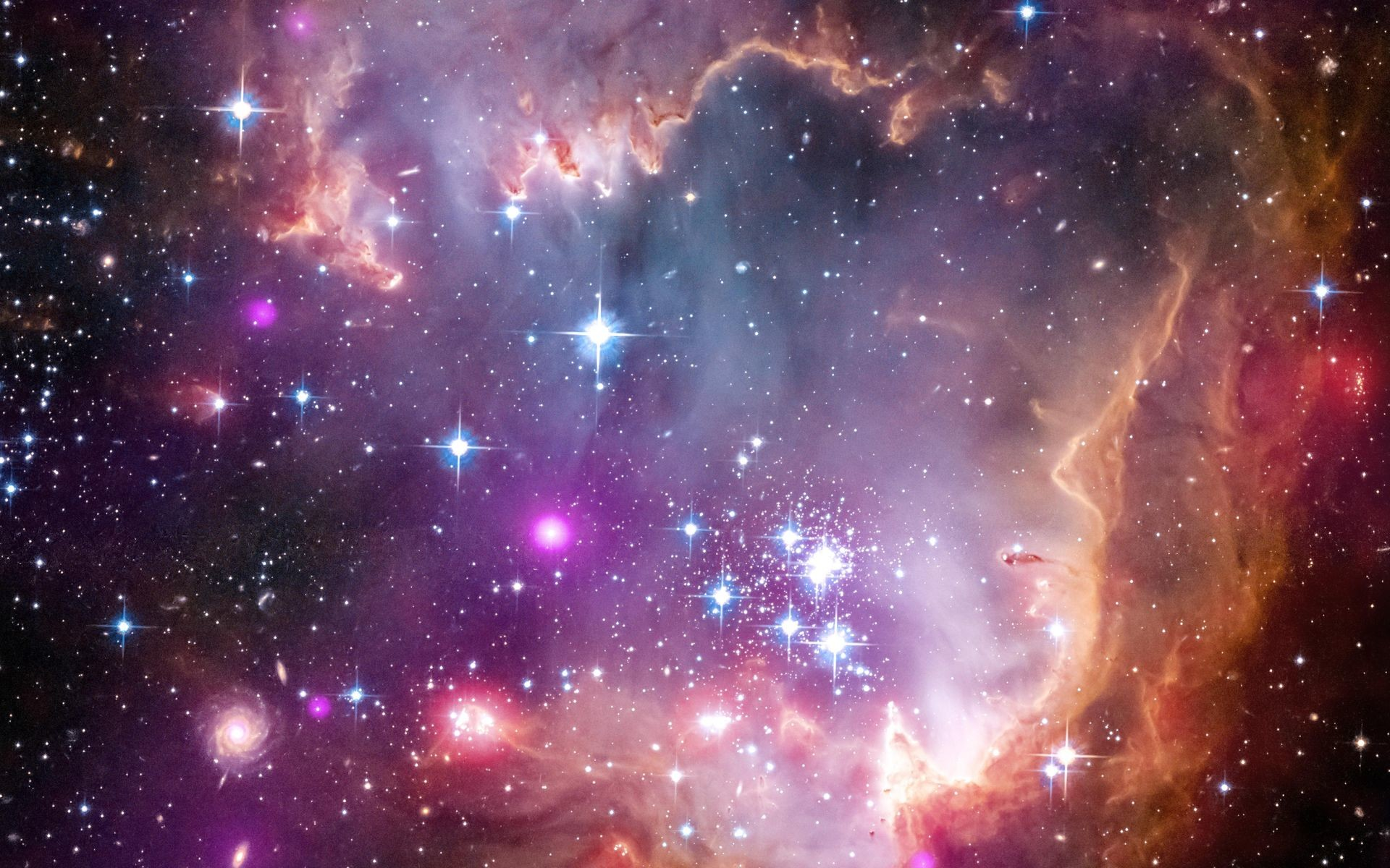 1920x1200 The tip of the 'wing' of the Small Magellanic Cloud galaxy is dazzling in